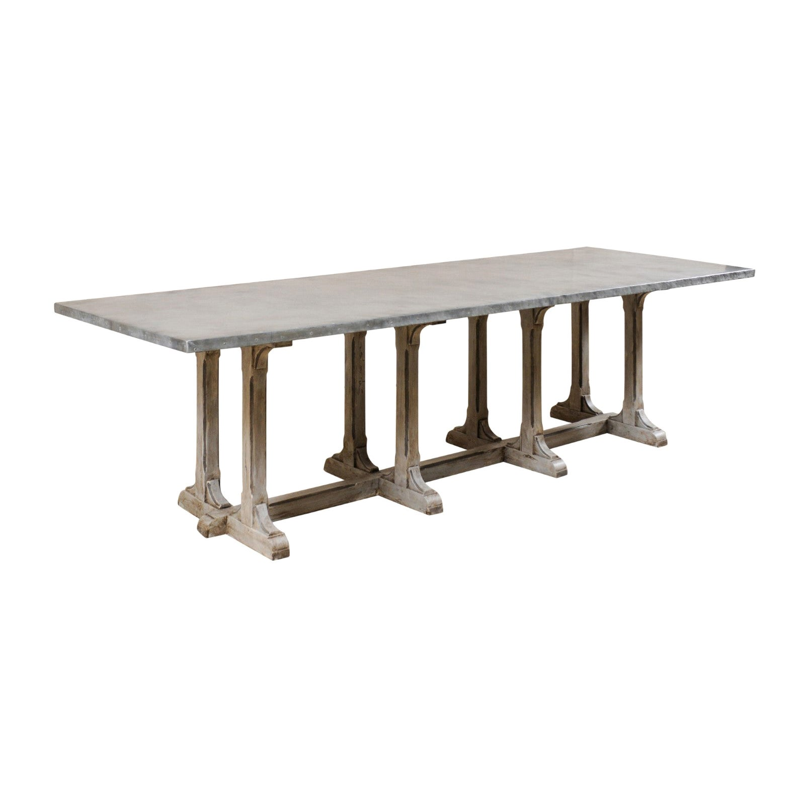 Vintage Trestle Dining Table with Custom Zinc Top