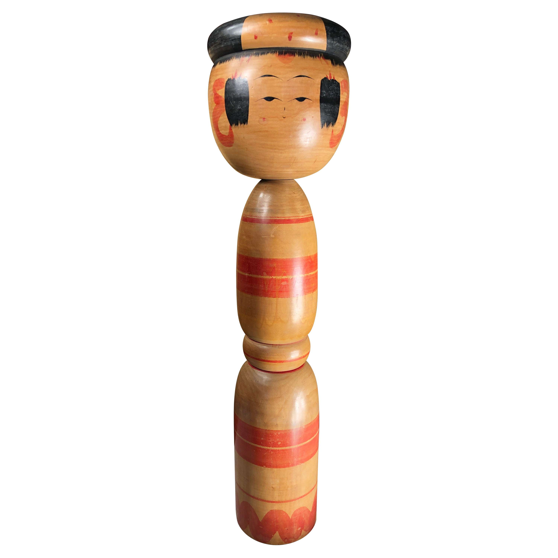 Japanese Extraordinary Tall Hand Carved Kokeshi Doll