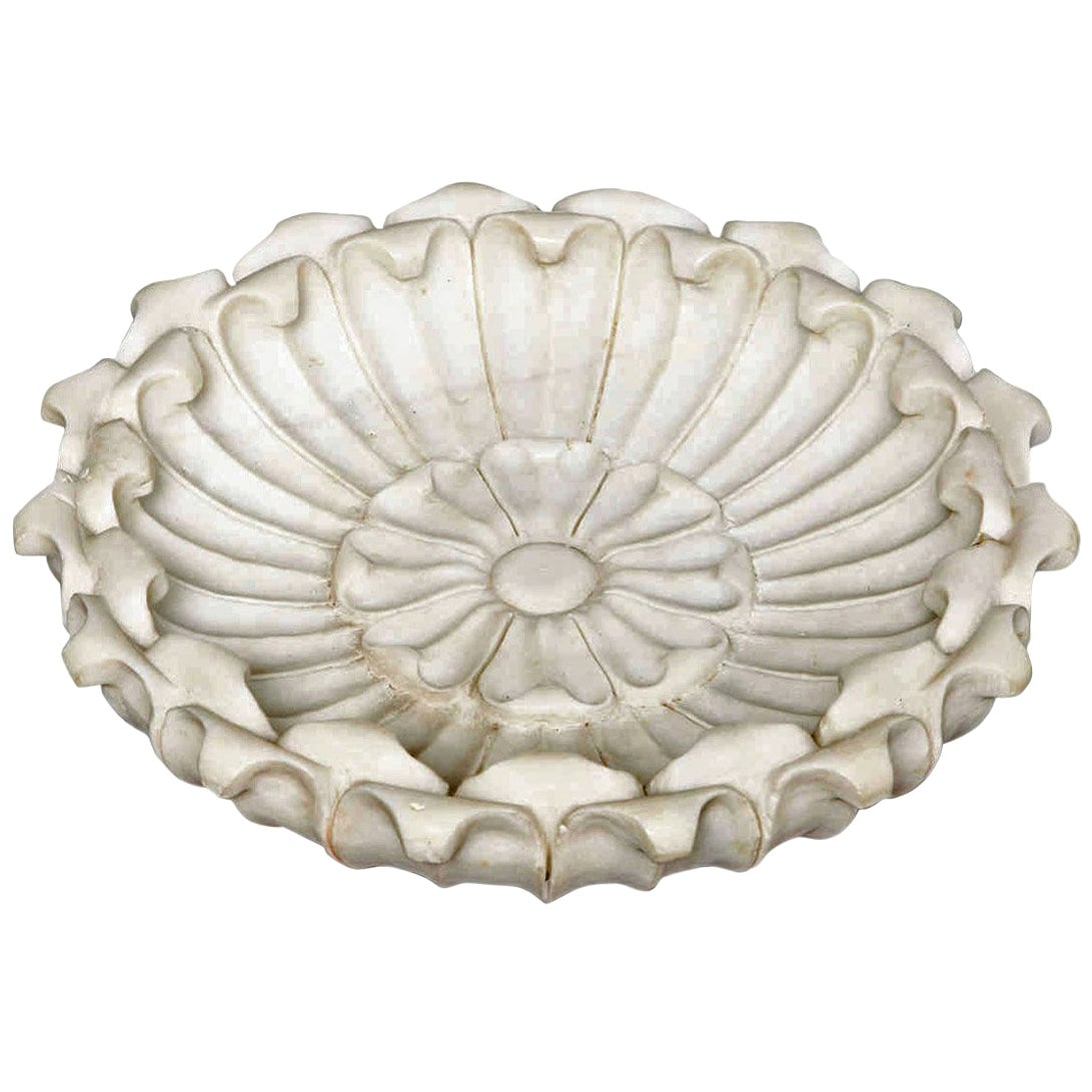 Hand Carved Marble Flower Bowl, Mid-20th Century