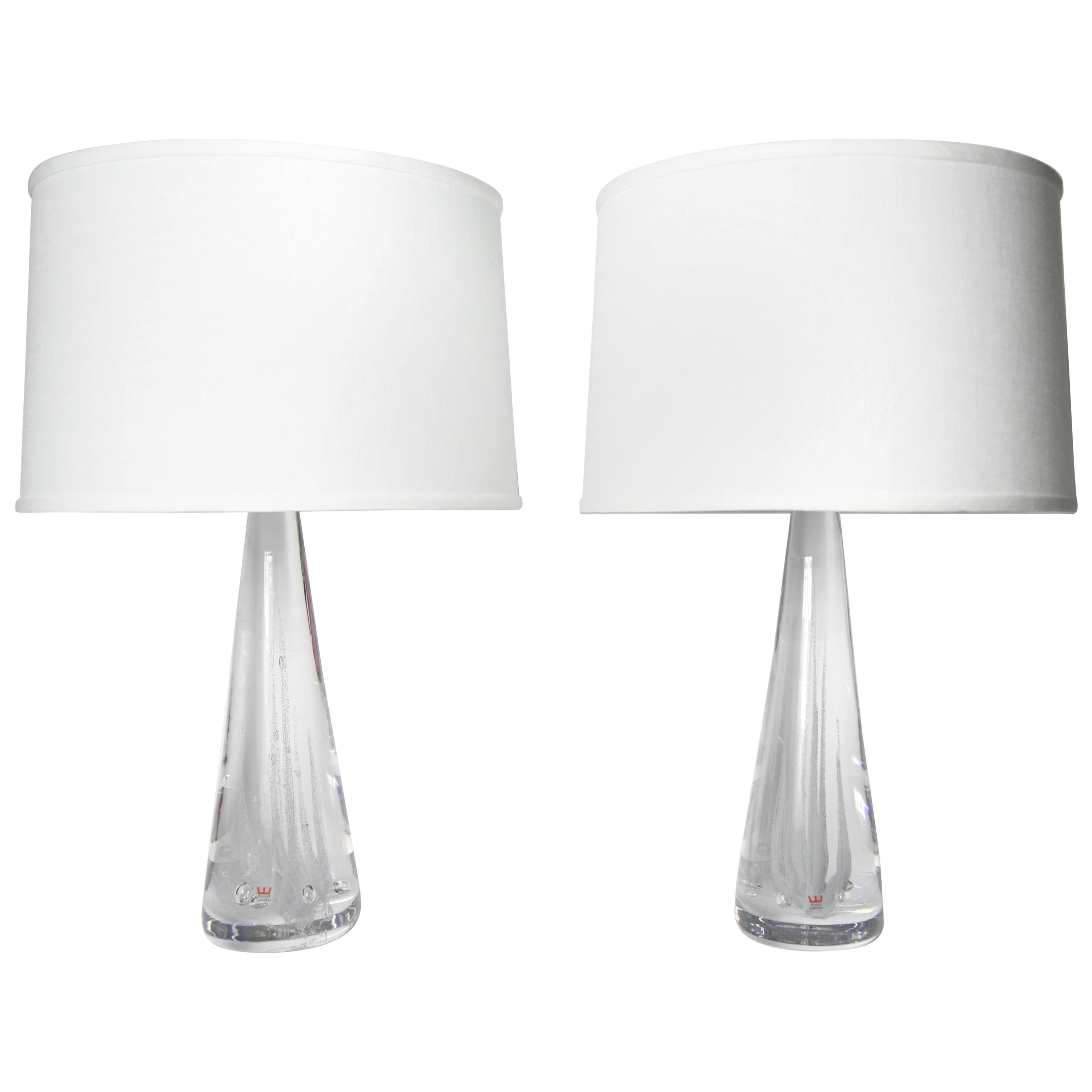 Pair of Solid Clear Kosta Crystal Lamps, Sweden, 1980