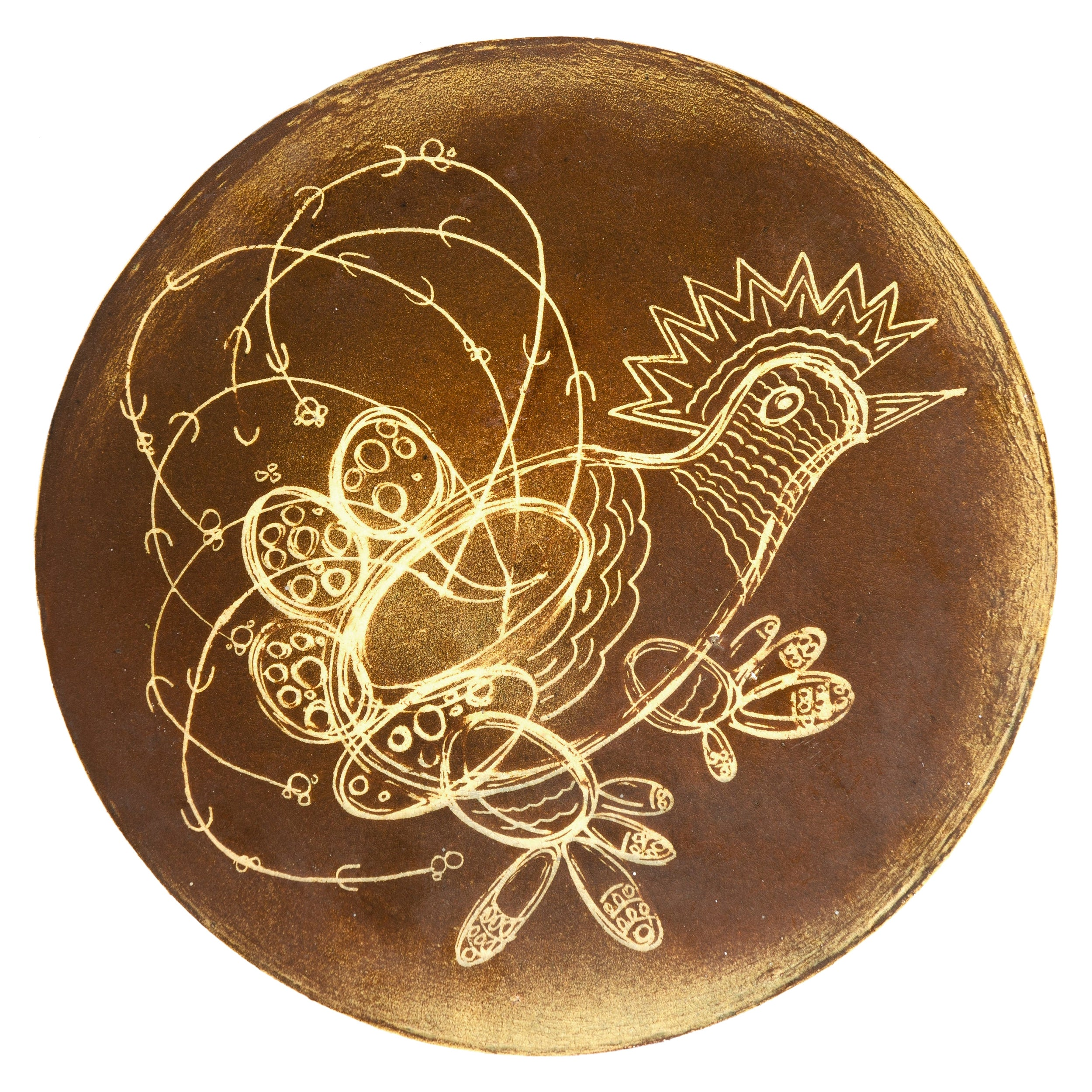 1960s Decorative Pottery Plate by Paul Shaub