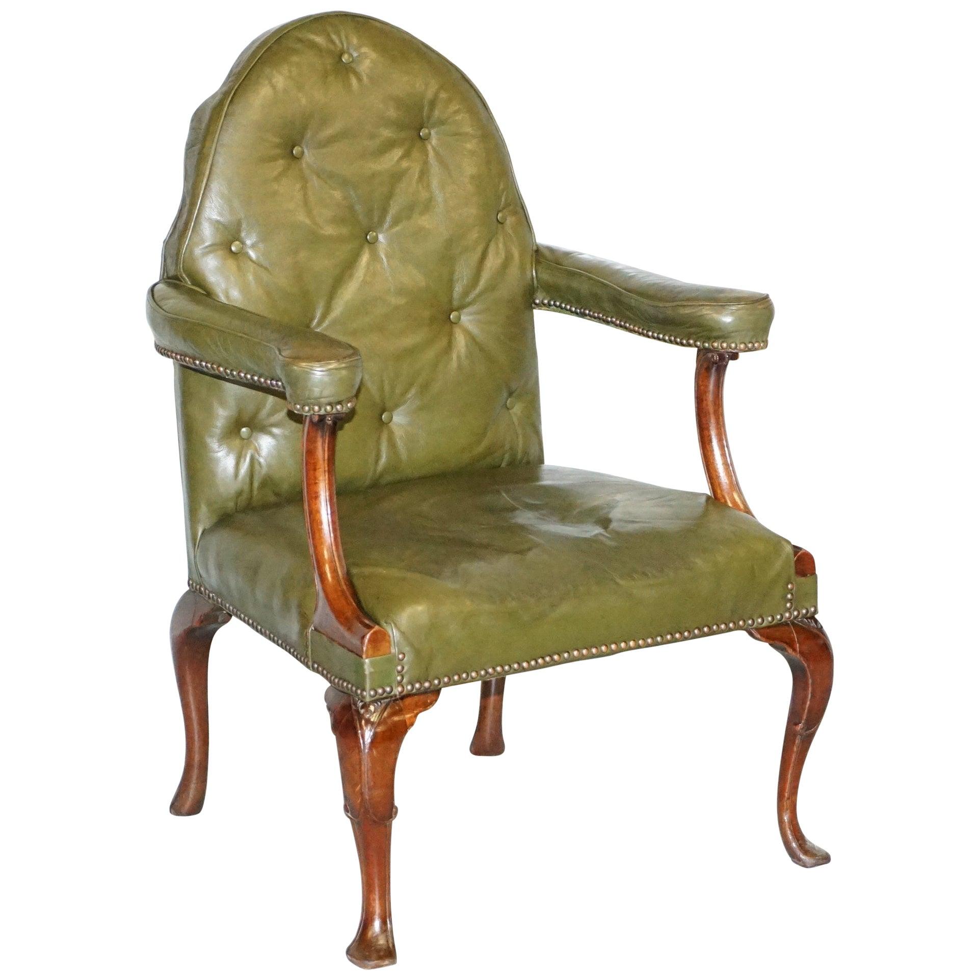 Gothic Revival Georgian Irish Chesterfield Leather Carver Armchair, circa 1800