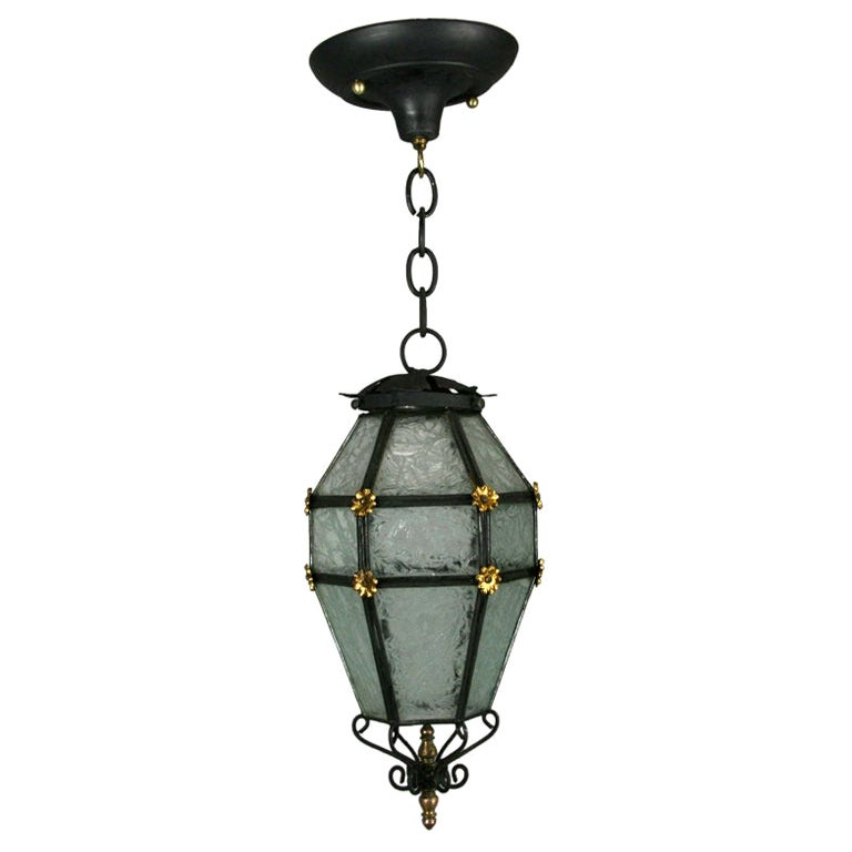 French Blackened Etched Glass Lantern