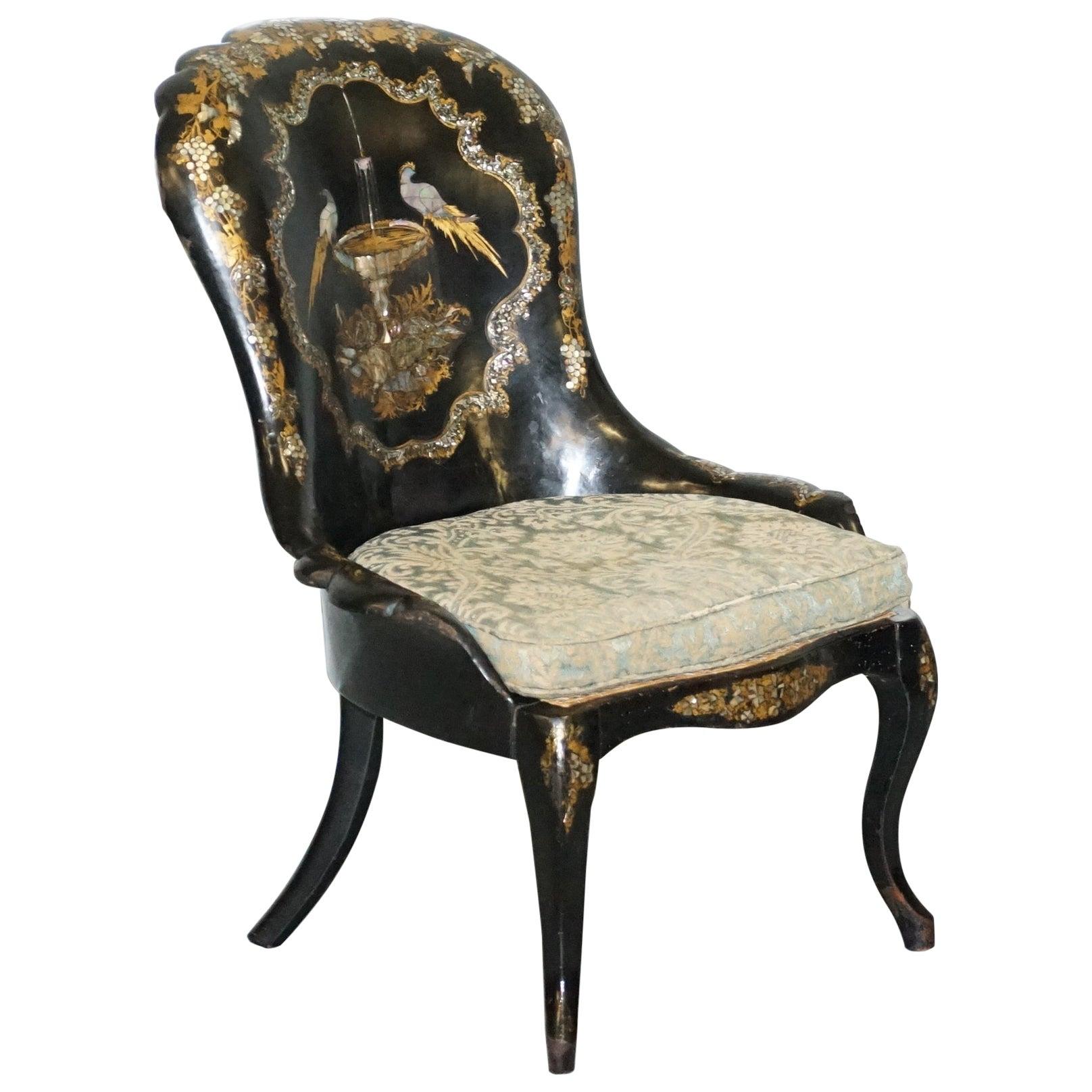 Jennens & Bettridge Brimm Parcel Gilt Papier Mâché Mother of Pearl Birds Chair