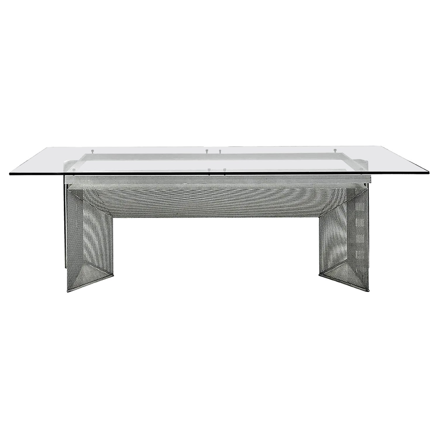 Large Design Desk in Steel and Glass, circa 1970-1980