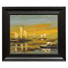 Framed 20th Century Oil on Canvas Seascape Painting with Sailboats