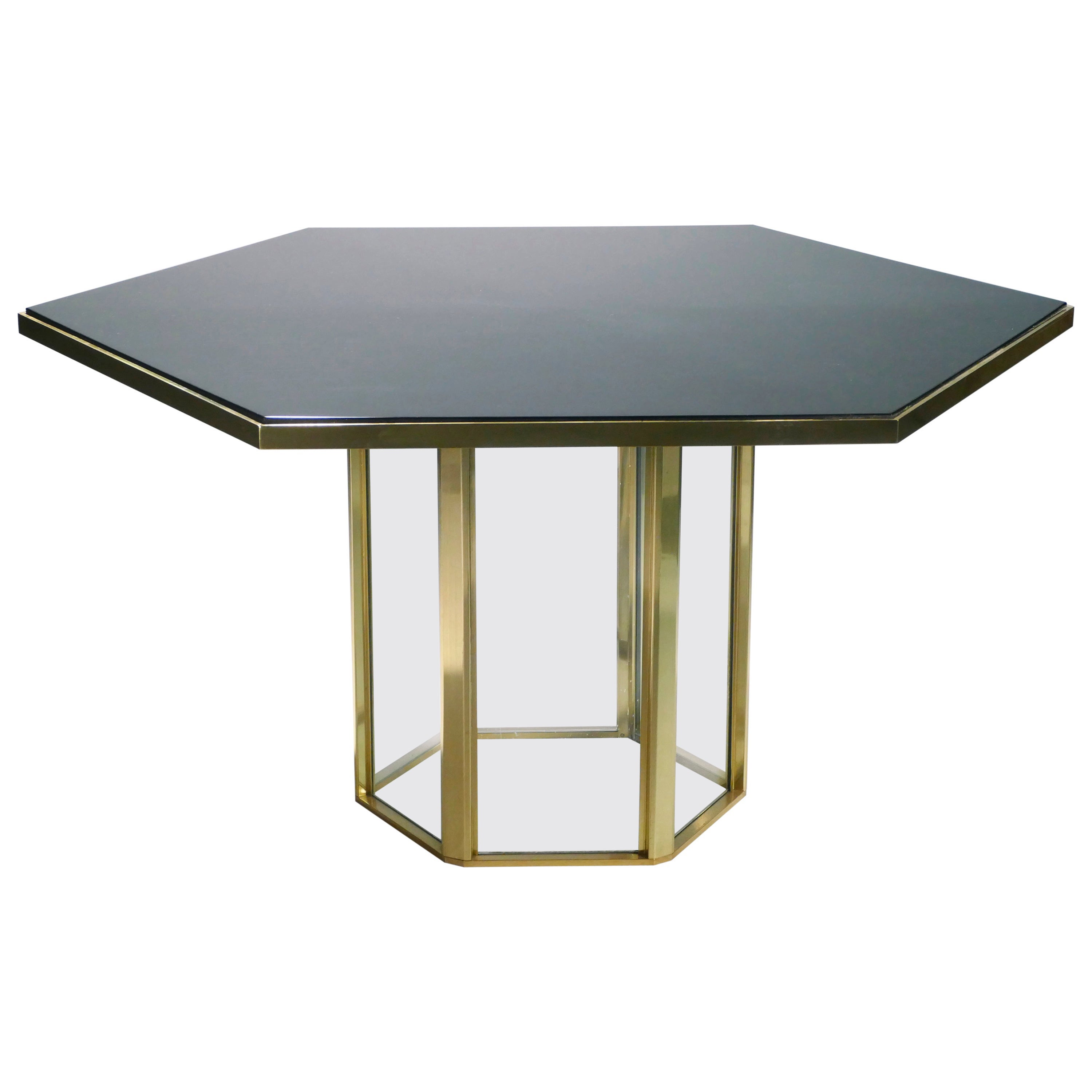 Midcentury Romeo Rega Black Lacquer Brass and Glass Dining Table, 1970s