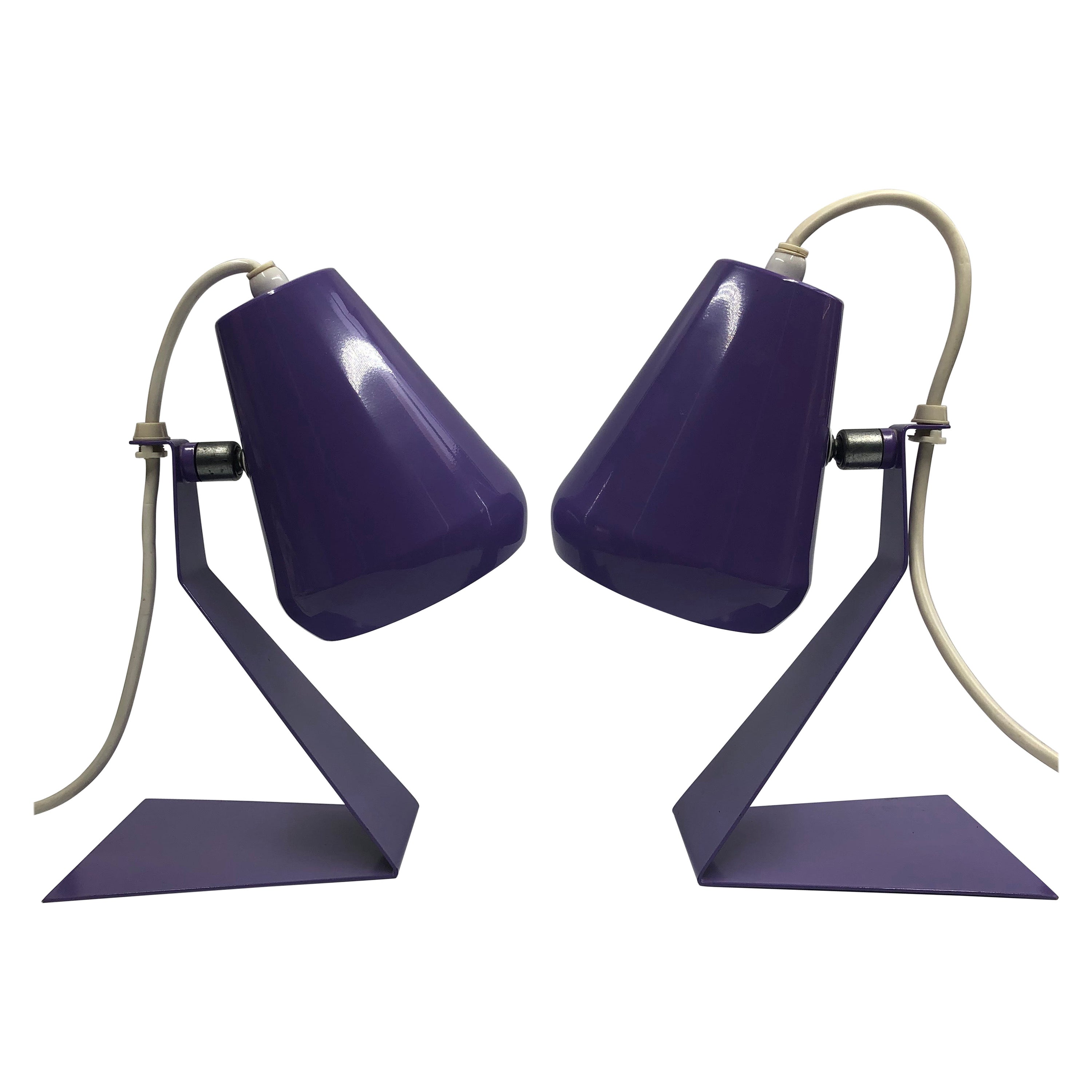Set of 2 Midcentury Z Bedside Table Lamps, 1960s Adjustable Lamp Shade