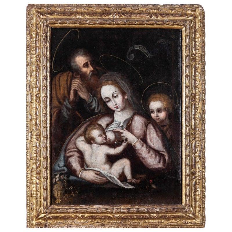 "17th Century Spanish ""Sacred Family with Baby Saint John"" Oil on Canvas"