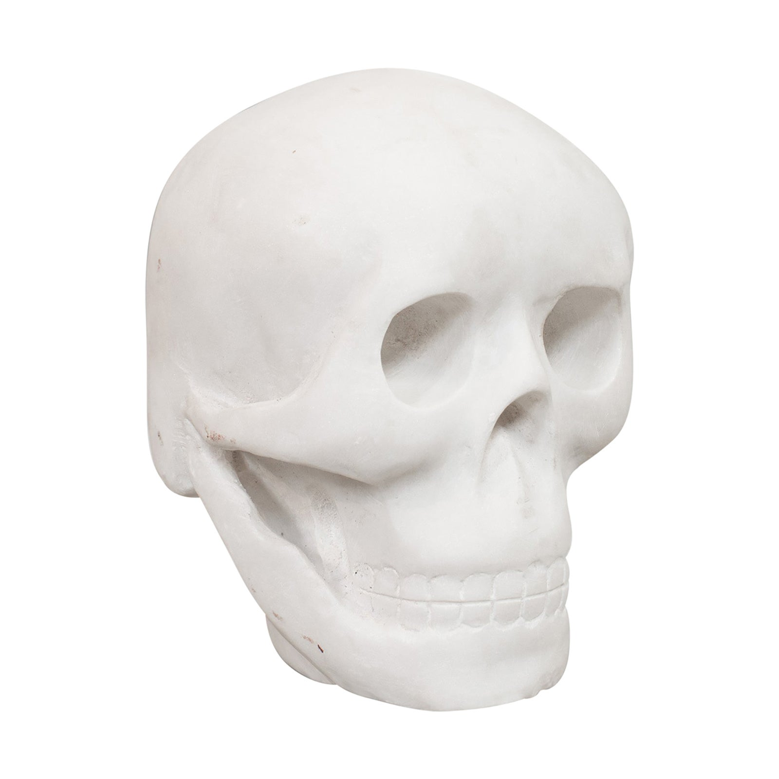 Vintage Marble Skull English Bianco Assoluto Paperweight, Ornament, 20th Century