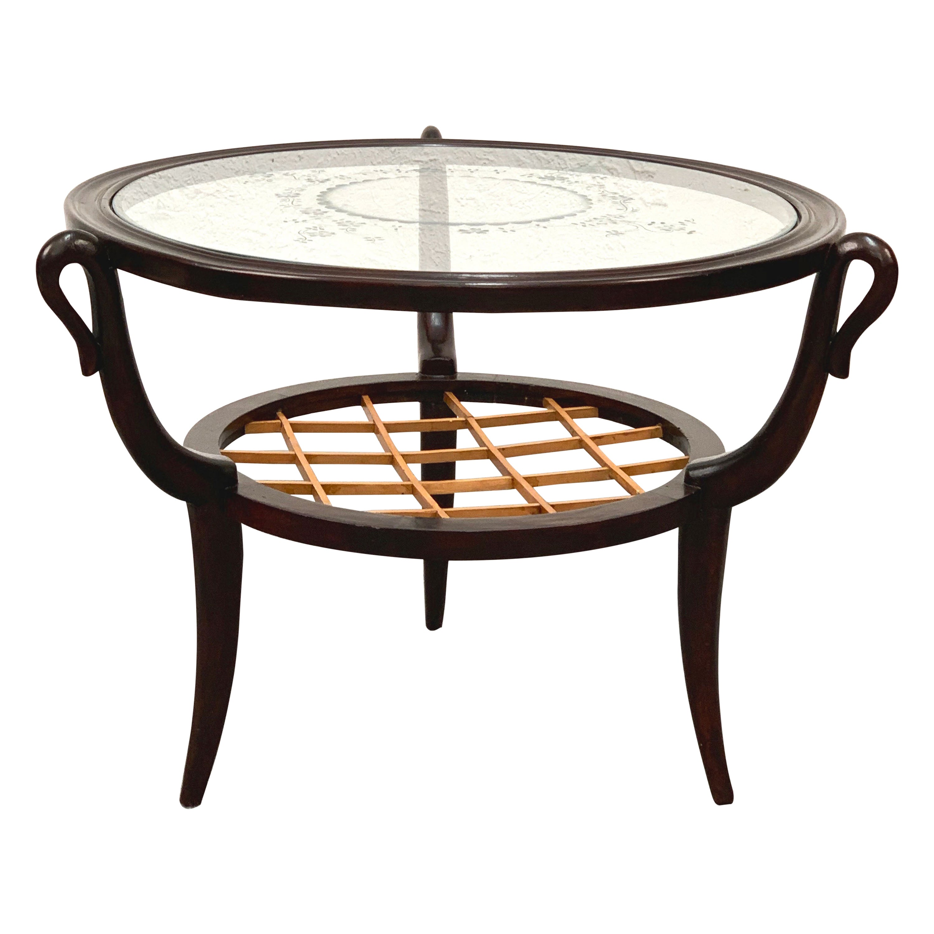 Gio Ponti Midcentury Two-level Round Wood and Glass Italian Coffee Table, 1950s