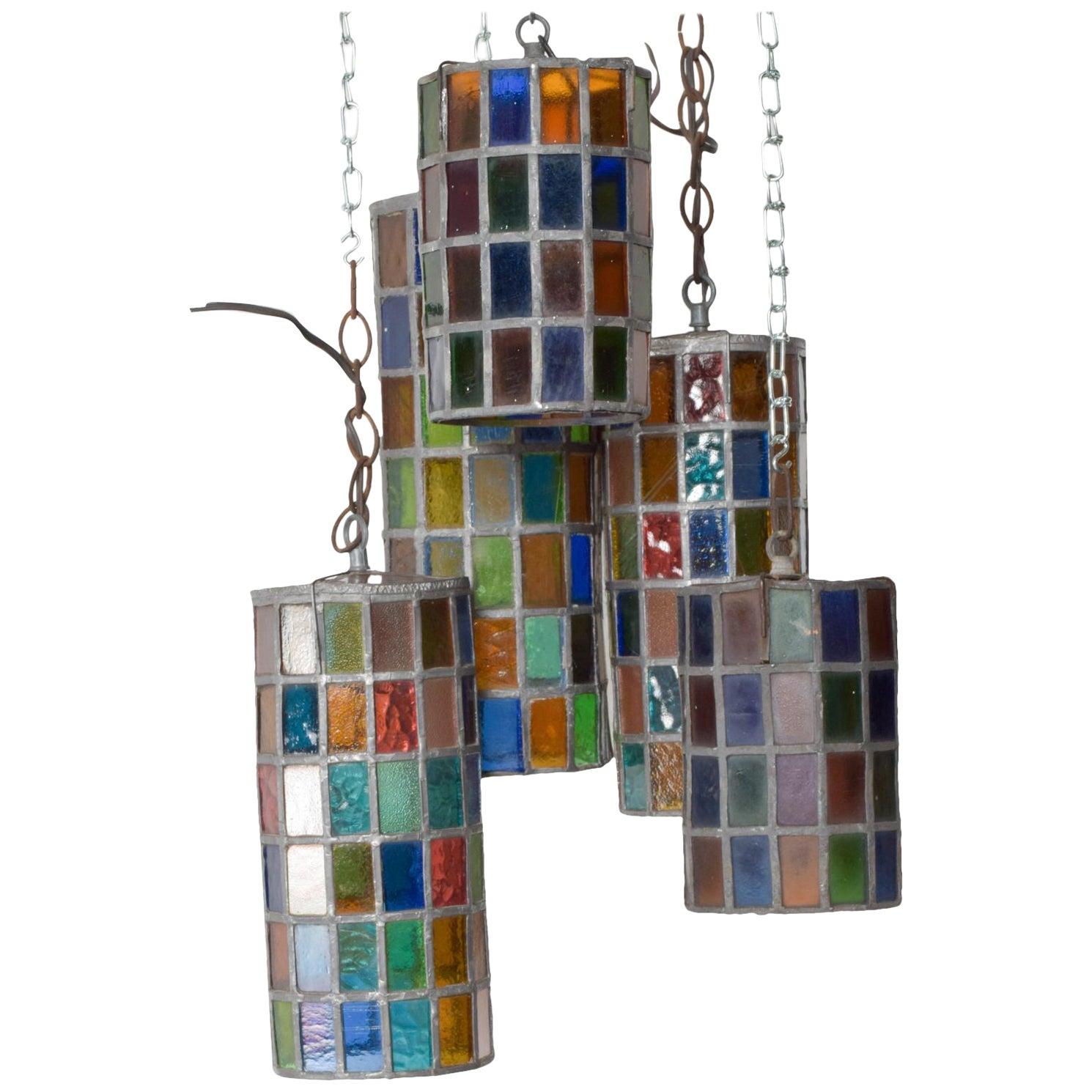 Feders Delfinger Modernist Colored Glass Hanging Pendant Lamp Set