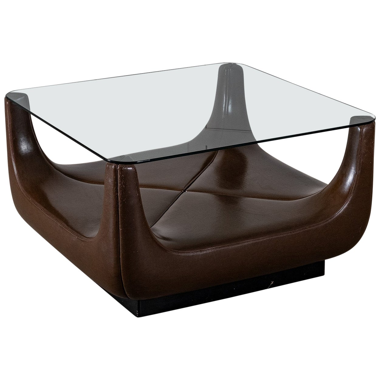 Coffee Table with Glass Top, 1970s