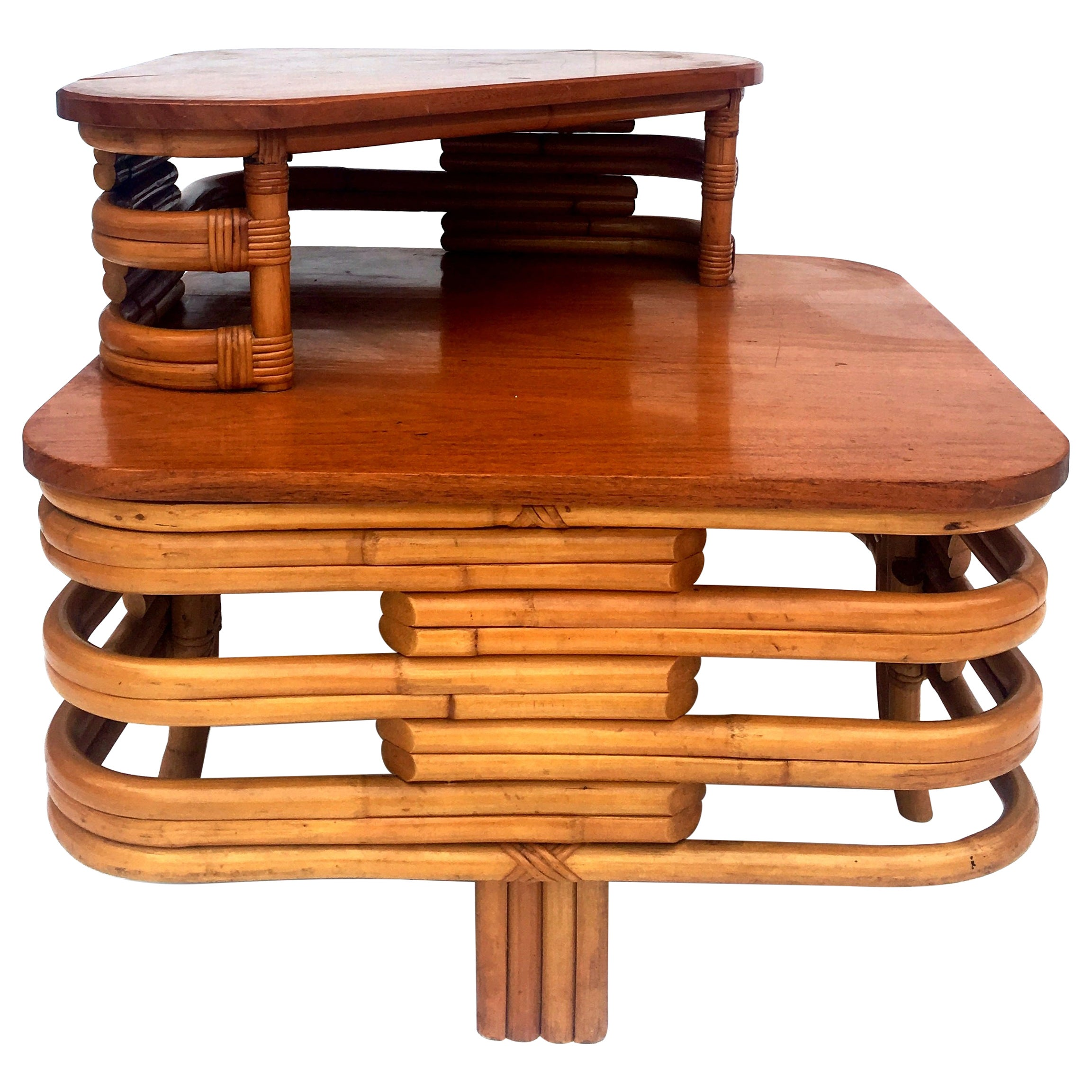 1930s Art Deco Two-Tier Bent Rattan and Mahogany Top Table by Paul Frankl