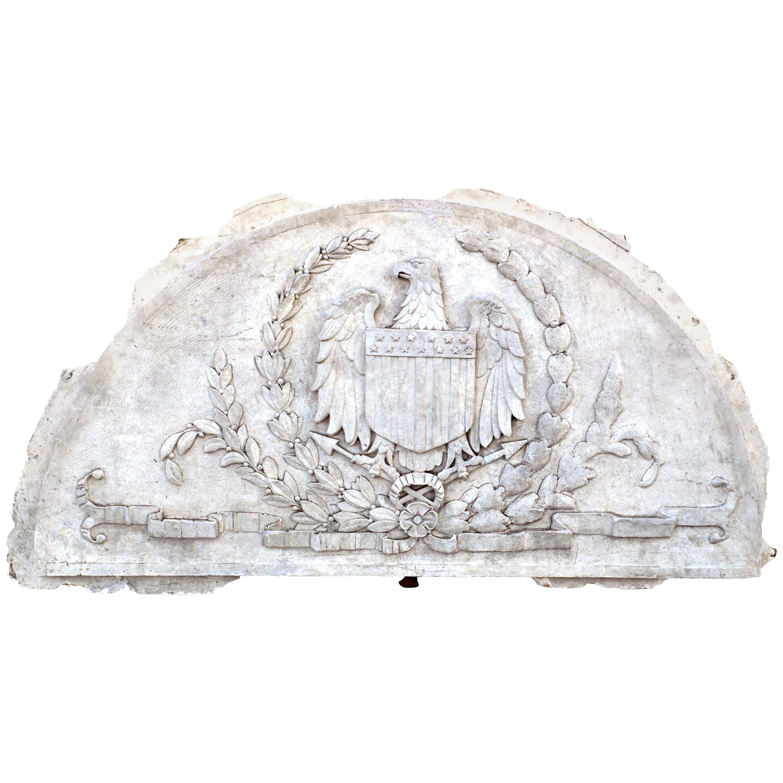Massive American Antique Plaster Demilune Plaque with American Eagle and Shield