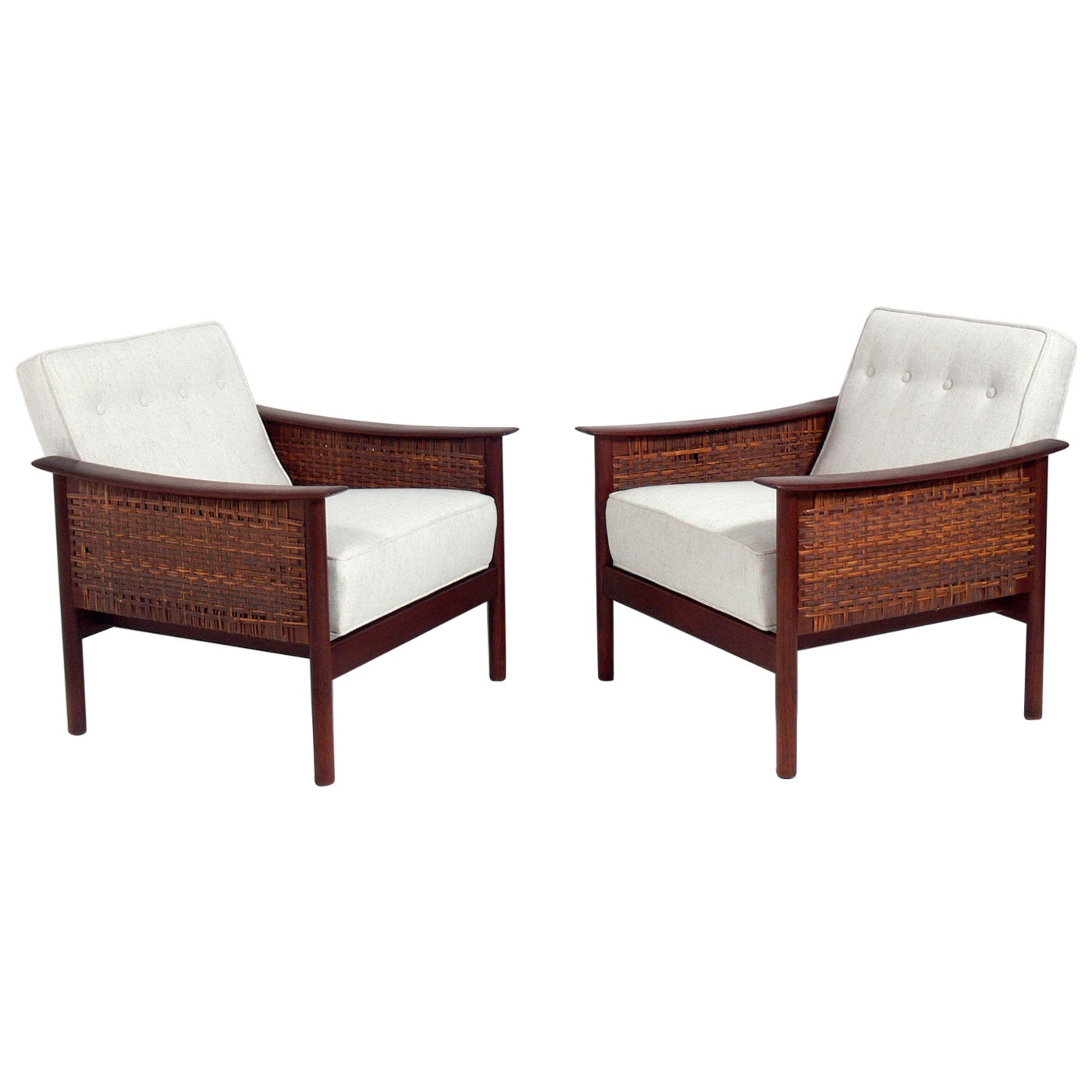 Pair of Danish Modern Caned Lounge Chairs