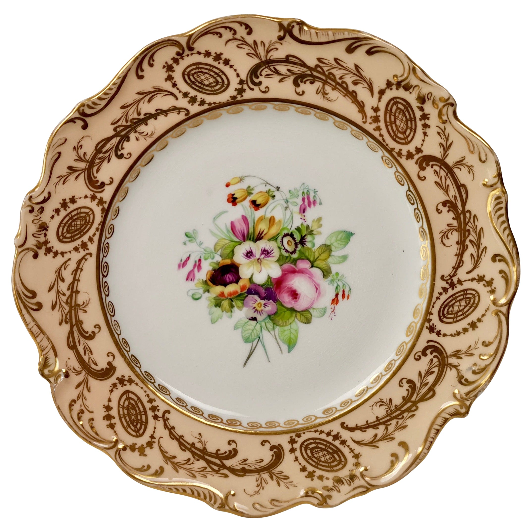 Coalport Plate, Peach with Hand Painted Flowers, Attributed to Thomas Dixon