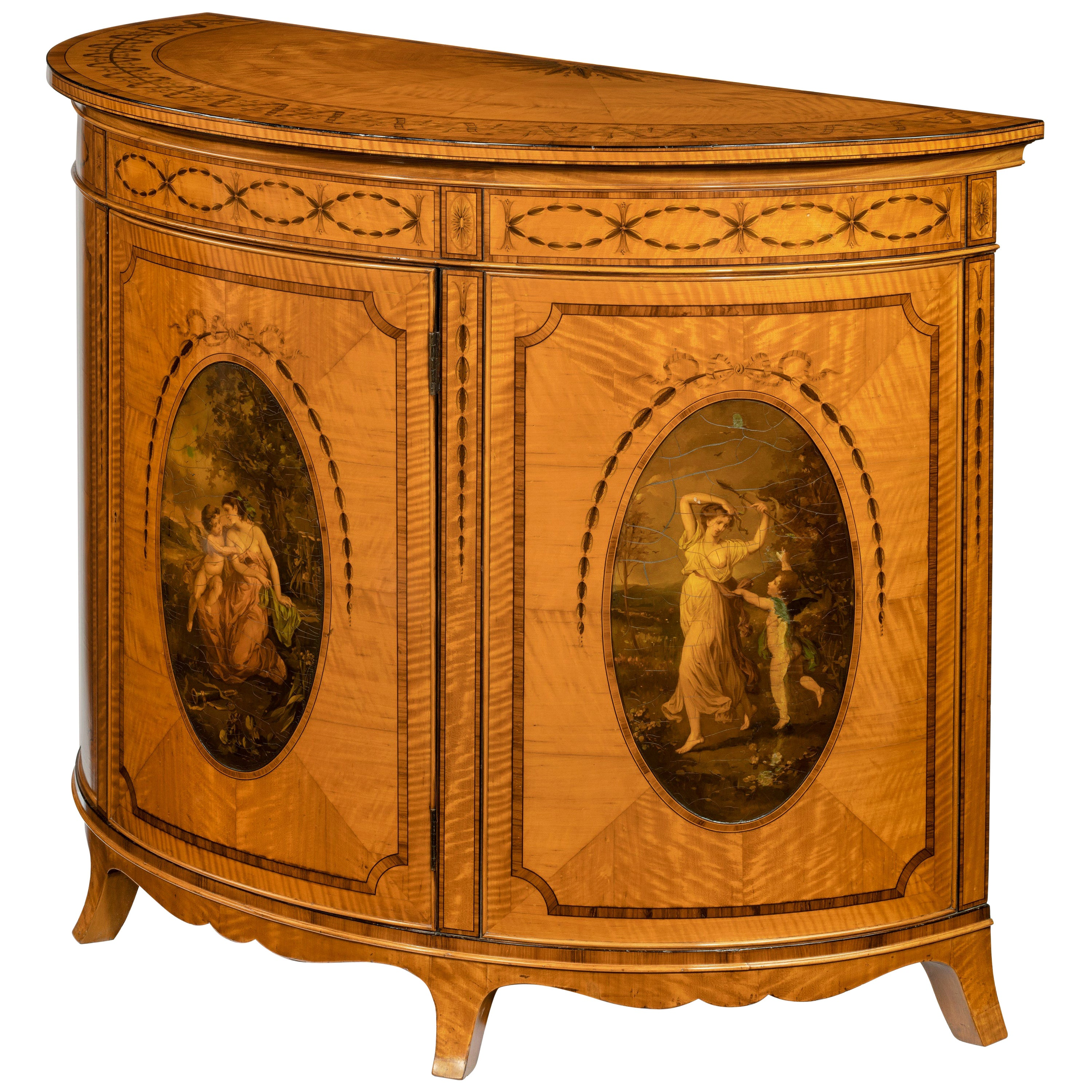 Fine Victorian Sheraton Revival West Indian Satinwood Demilune Commode