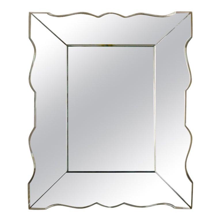 Small French Art Deco Mirror, 1940s