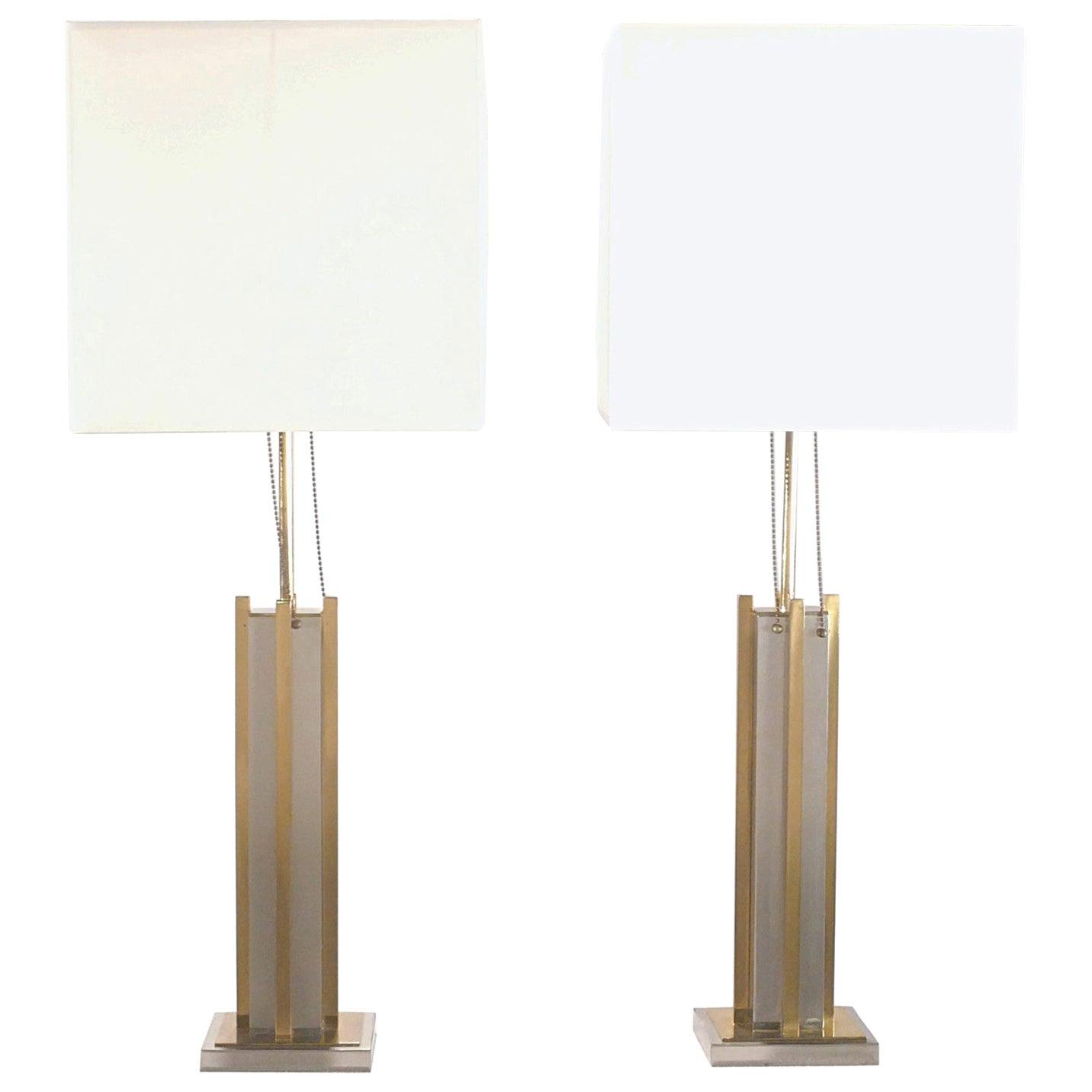 Pair of Italian Gaetano Sciolari Brass and Chrome Lamps, 1970s