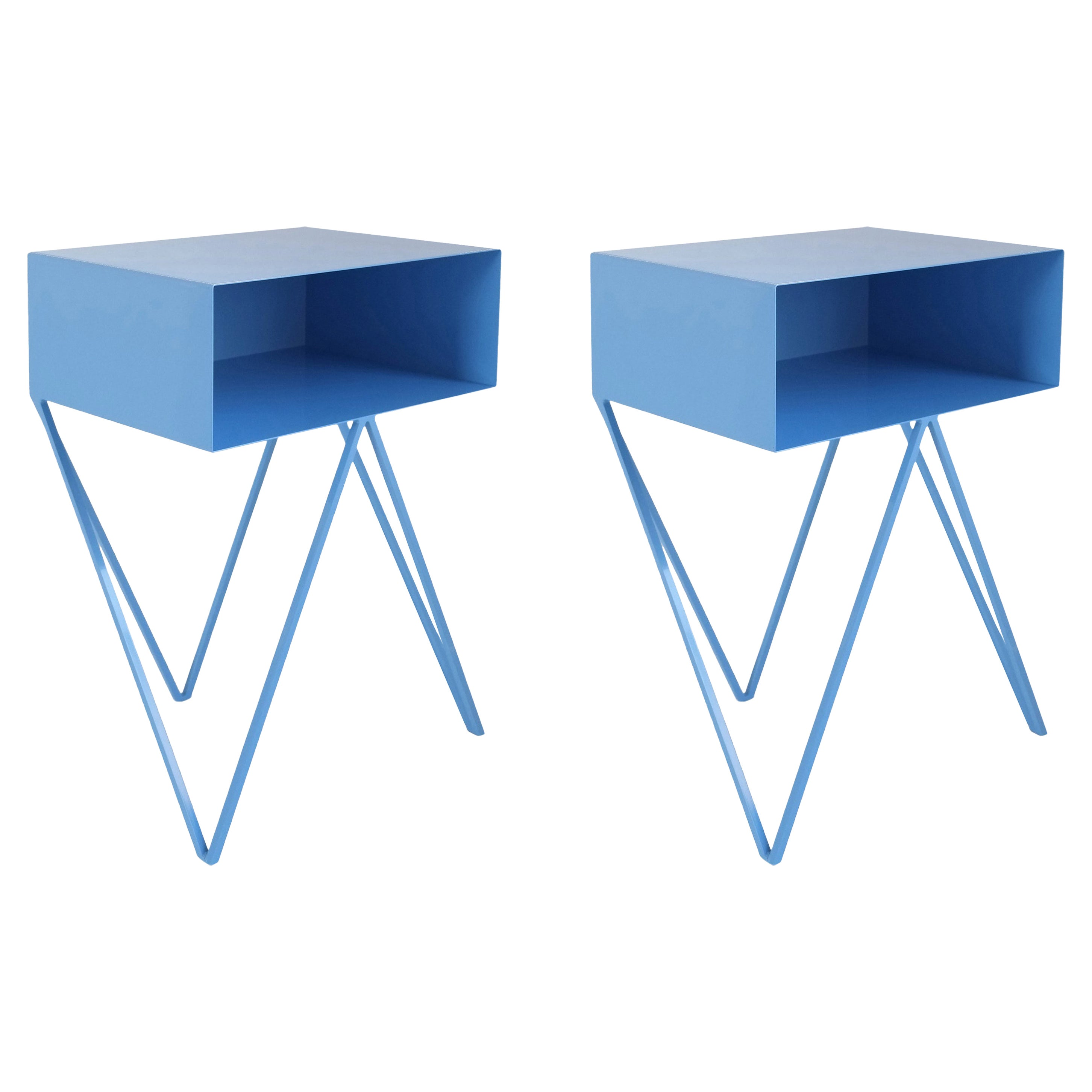 Pair of Blue Powder Coated Steel Robot Bedside Tables Side Table