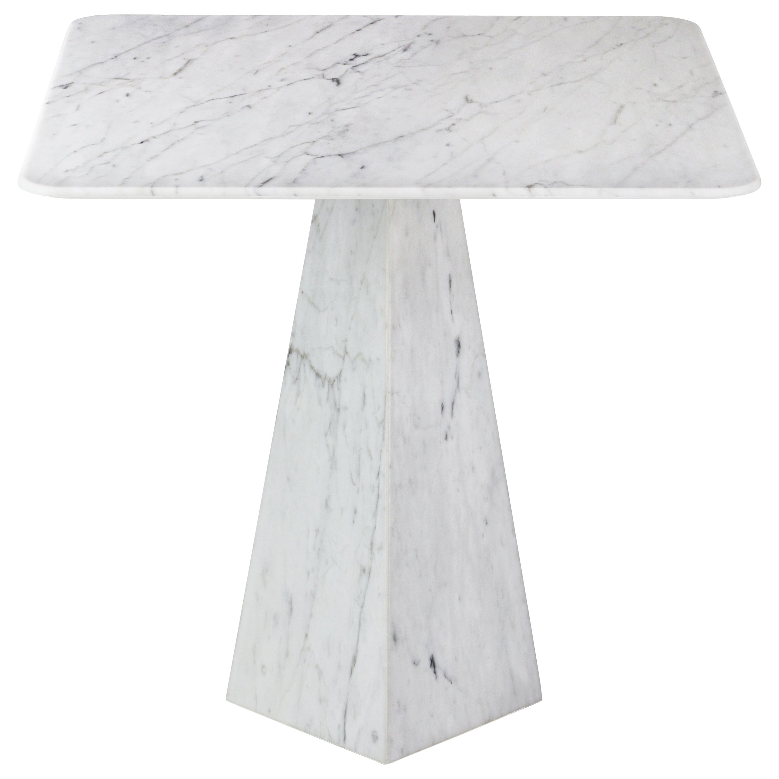 Ultra Thin Squared White Carrara Marble Side Table