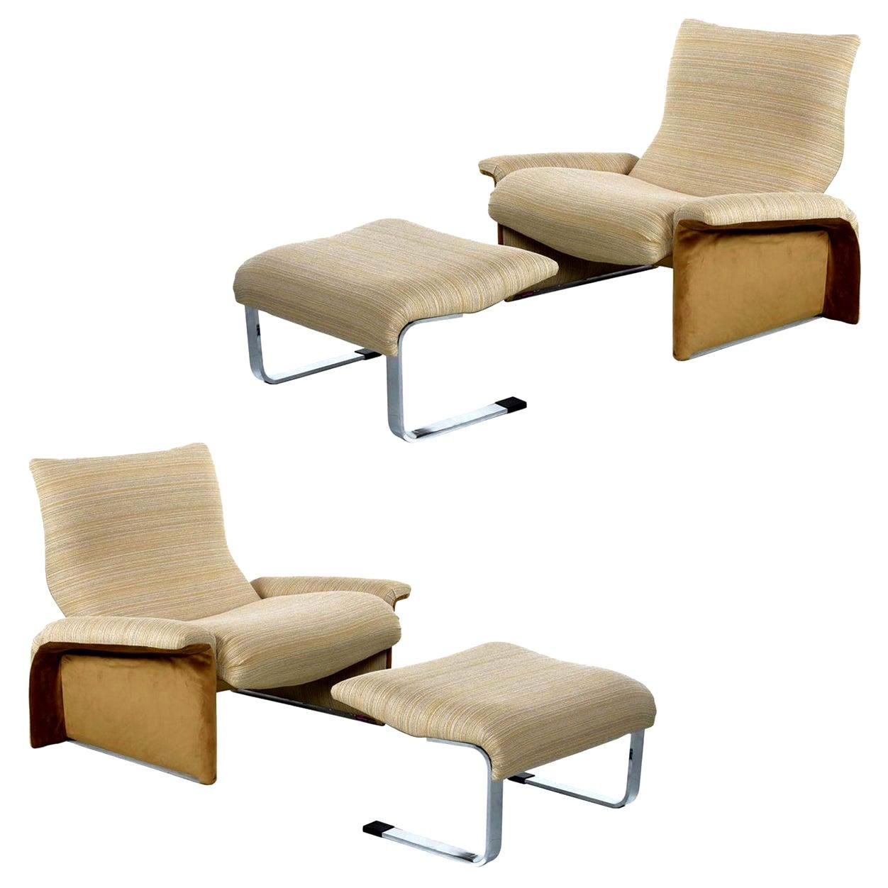 Saporiti Italia Chrome Lounge Chairs and Ottomans by Giovanni Offredi