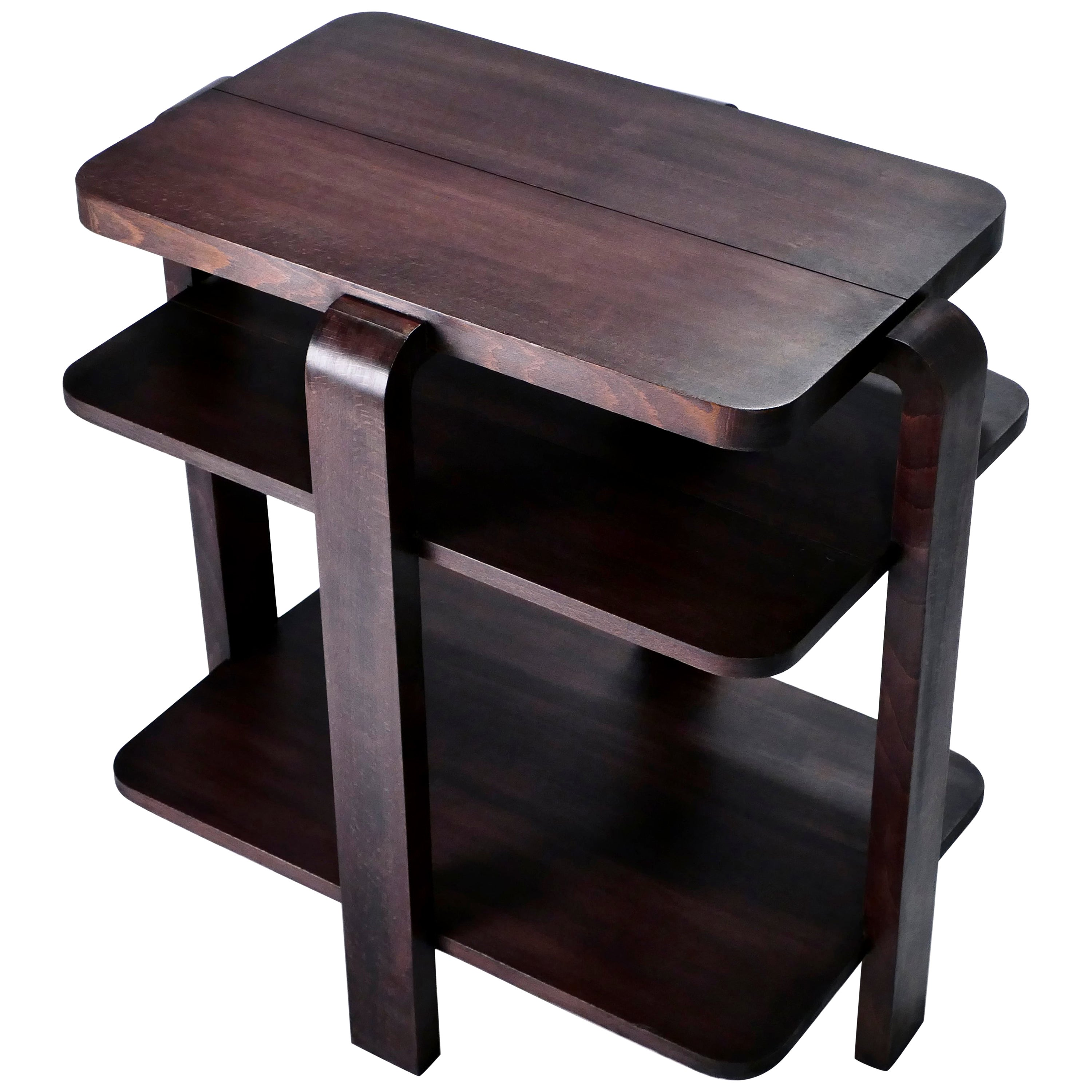 French Art Deco Modernist Mahogany Side Table, 1940s