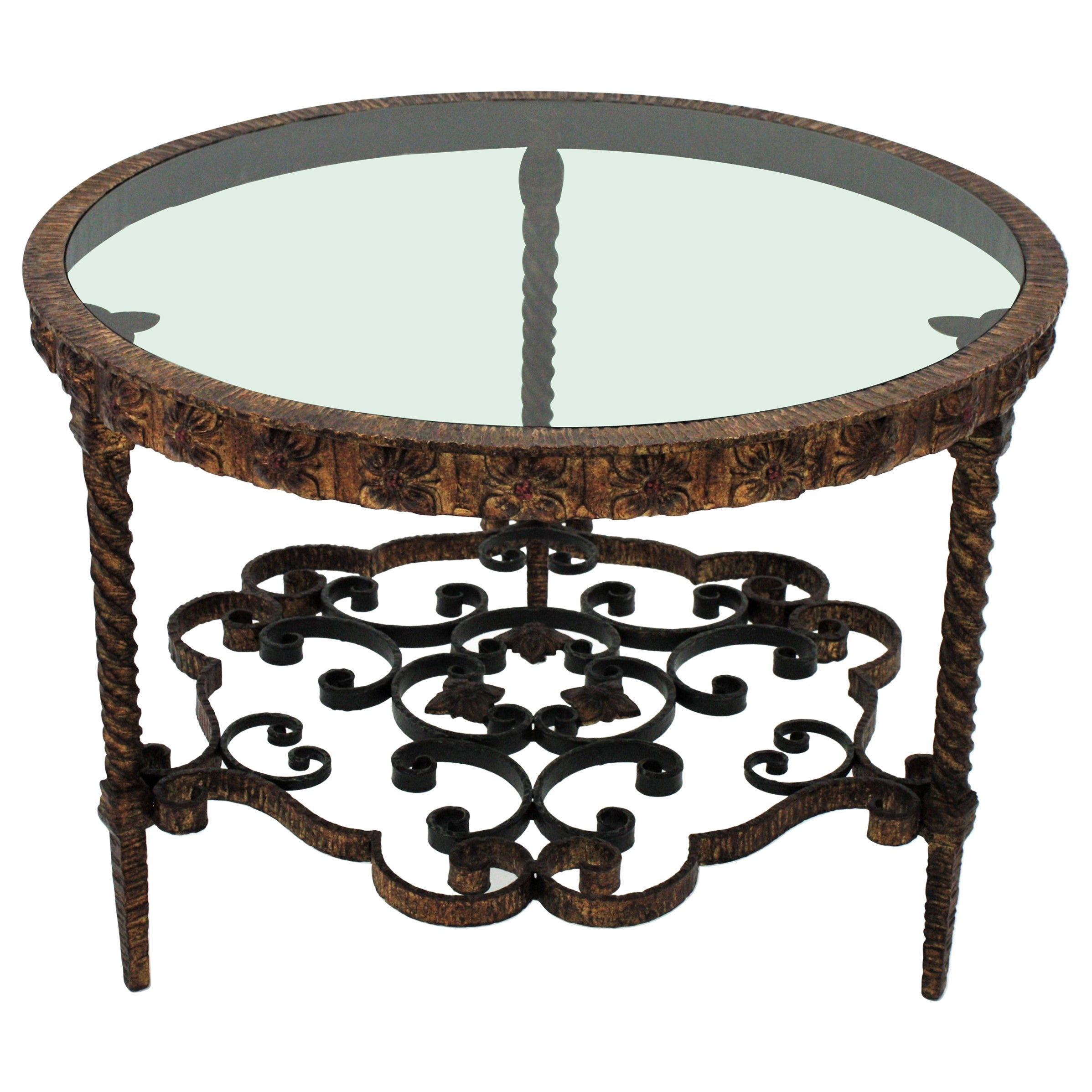 Spanish Round Coffee Table in Wrought Gilt Iron with Smoked Glass Top, 1940s