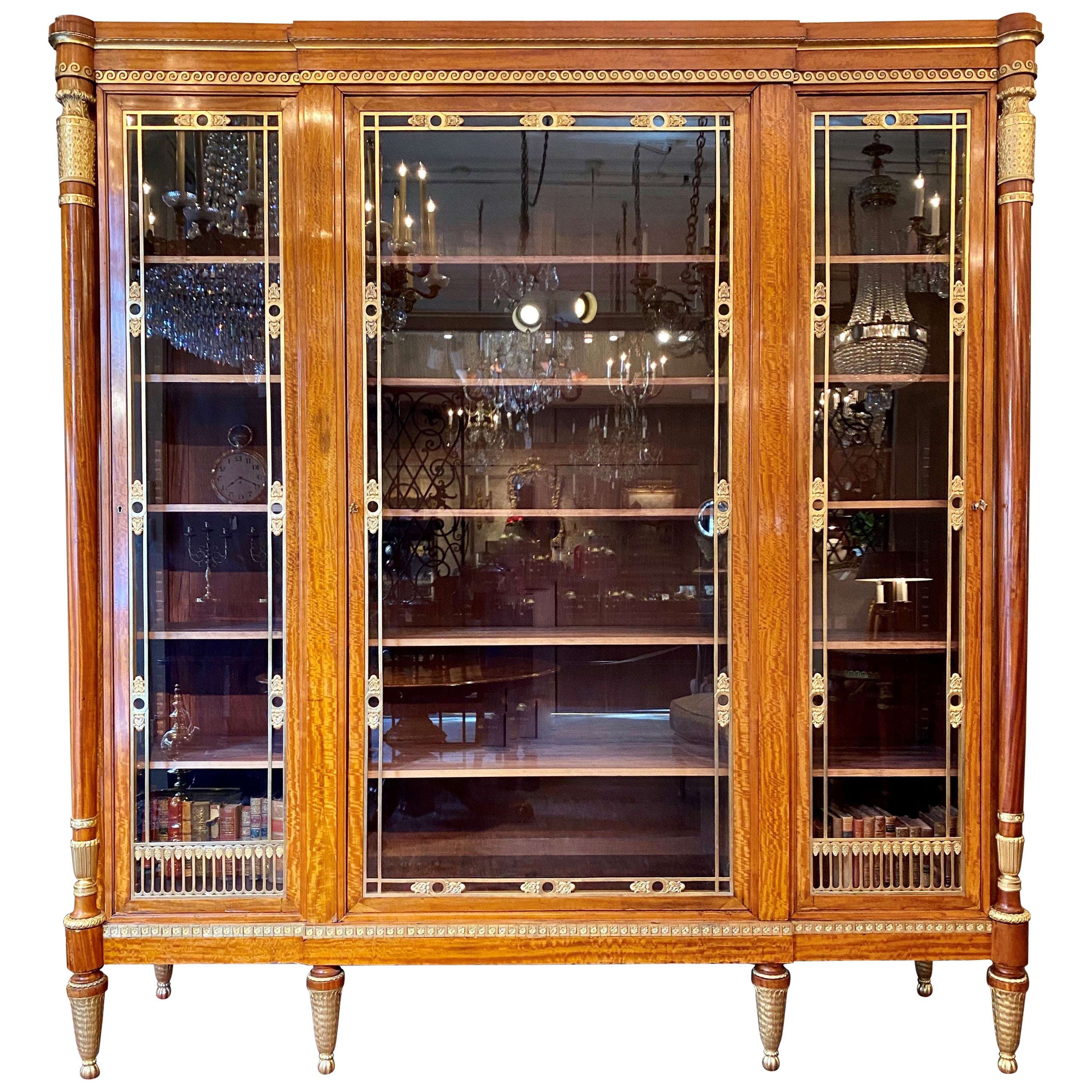 Antique French Satinwood and Bronze Dore Vitrine or Display Cabinet, circa 1890