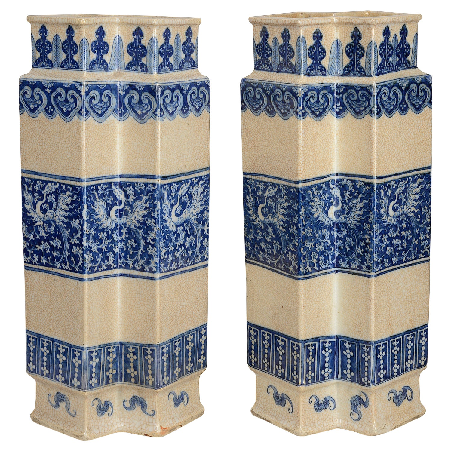 Pair of 19th Century Chinese Crackle Ware Blue and White Vases / Lamps