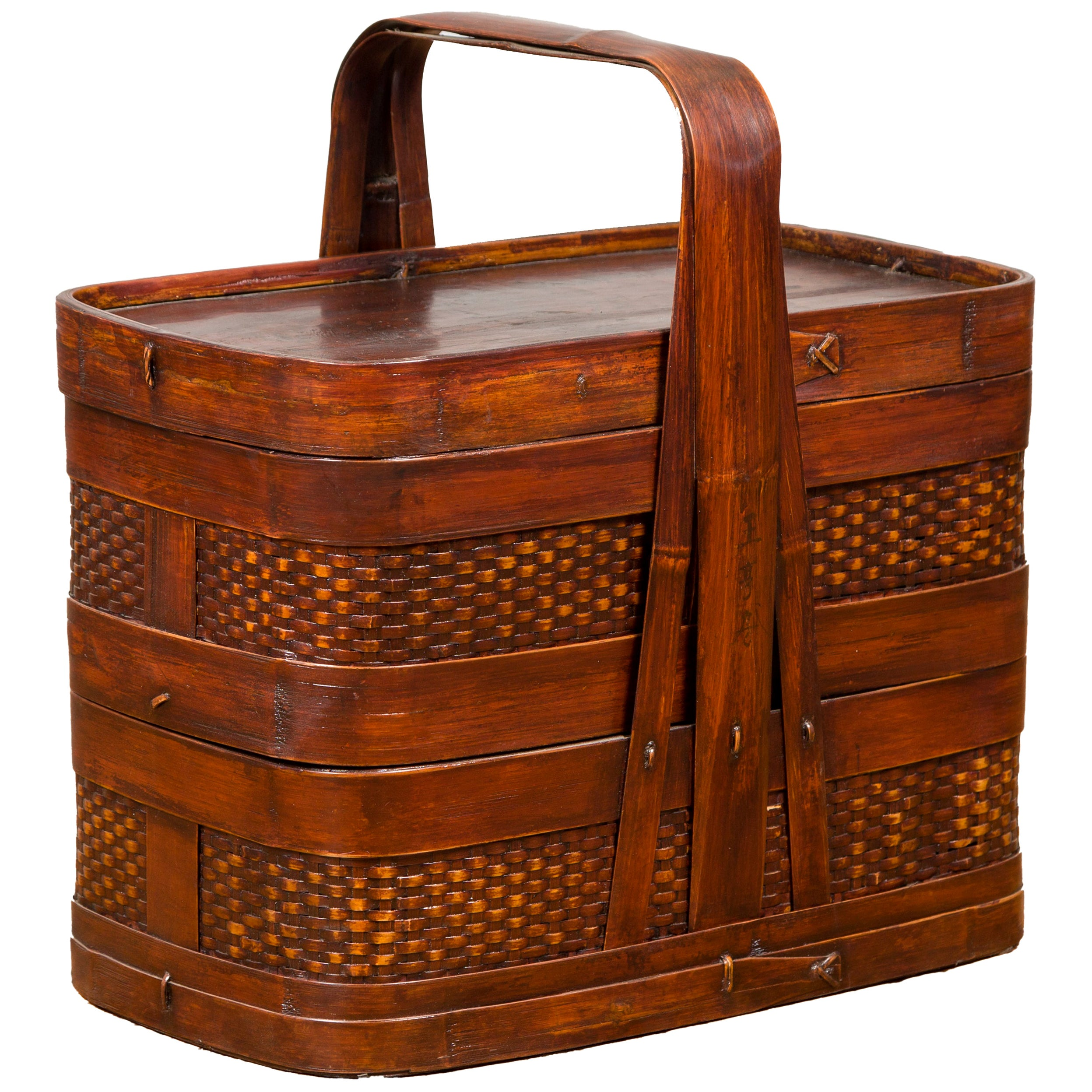 Chinese Vintage Two-Tiered Bamboo and Rattan Lunch Basket with Large Handle