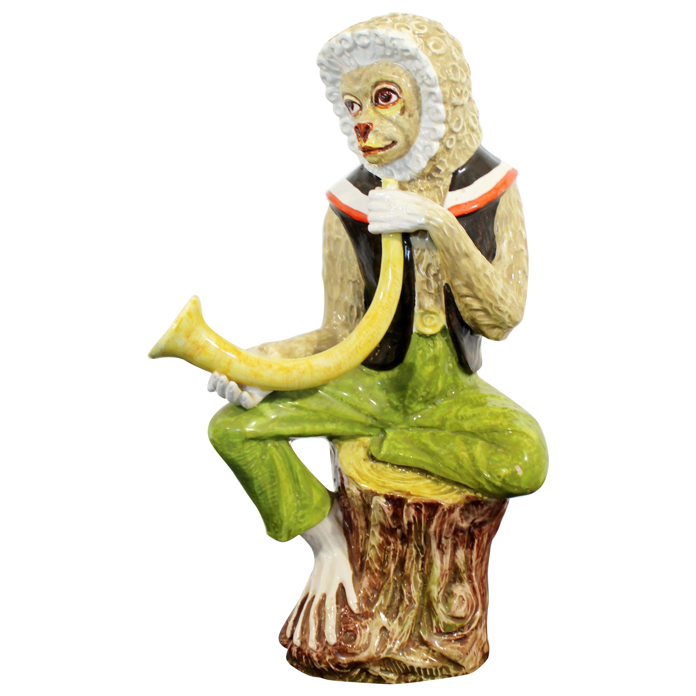 Mid-Century Modern Ceramic Seated Monkey Table Sculpture, Italy, 1960s