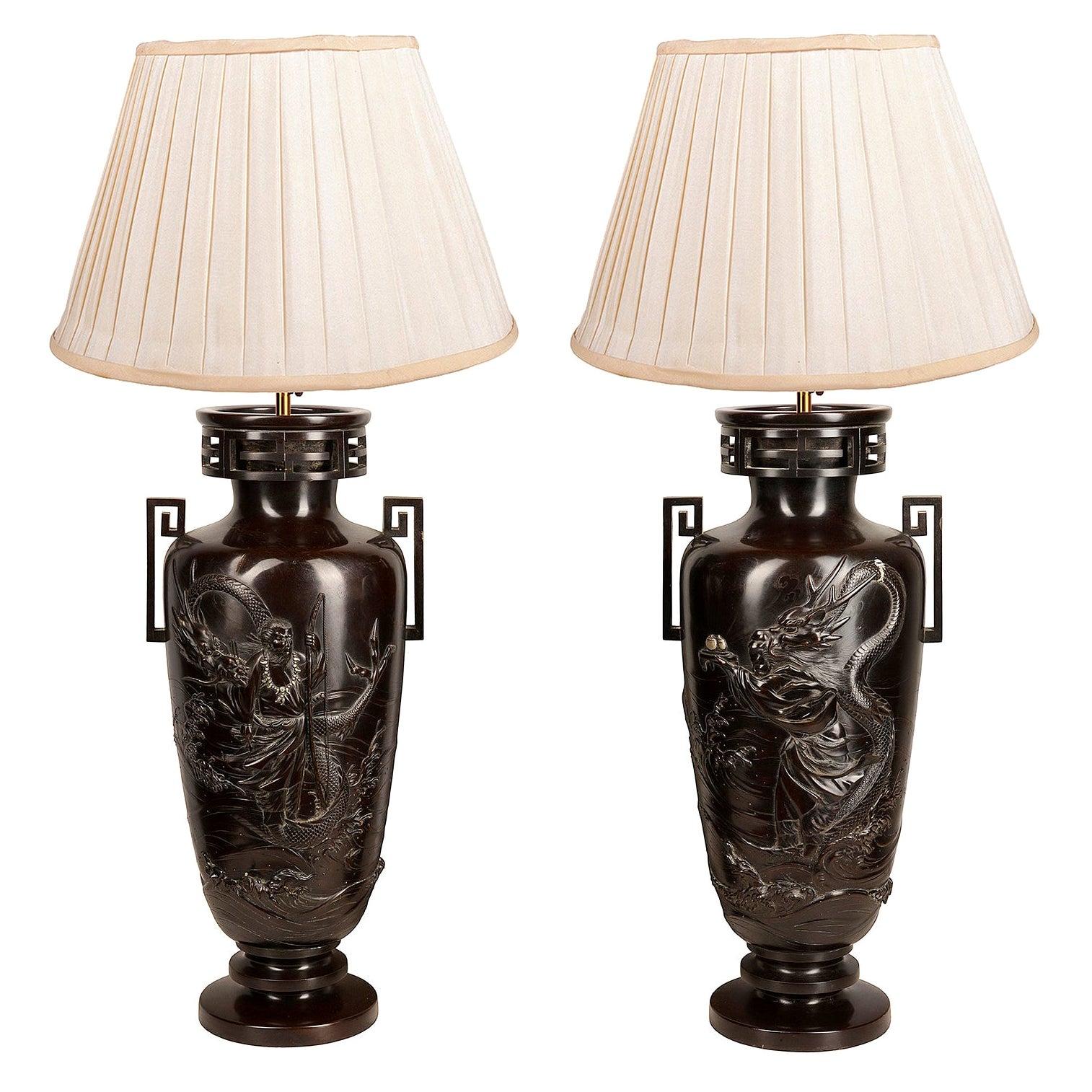 Pair of Japanese Meiji / Taisho Period '1900-1920' Cast Bronze Vases / Lamps