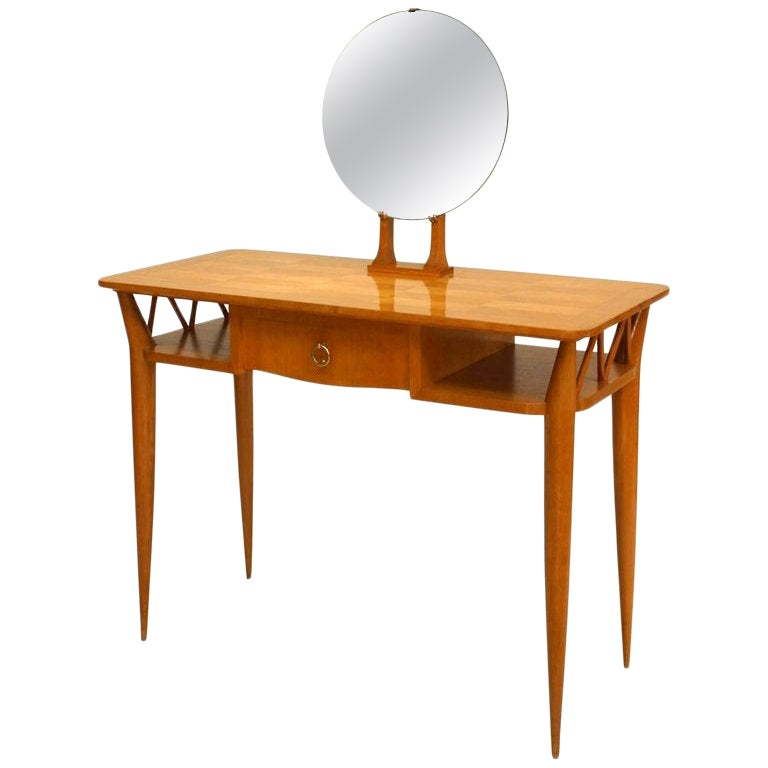 1940s Parquetry Dressing Table with Vanity Mirror