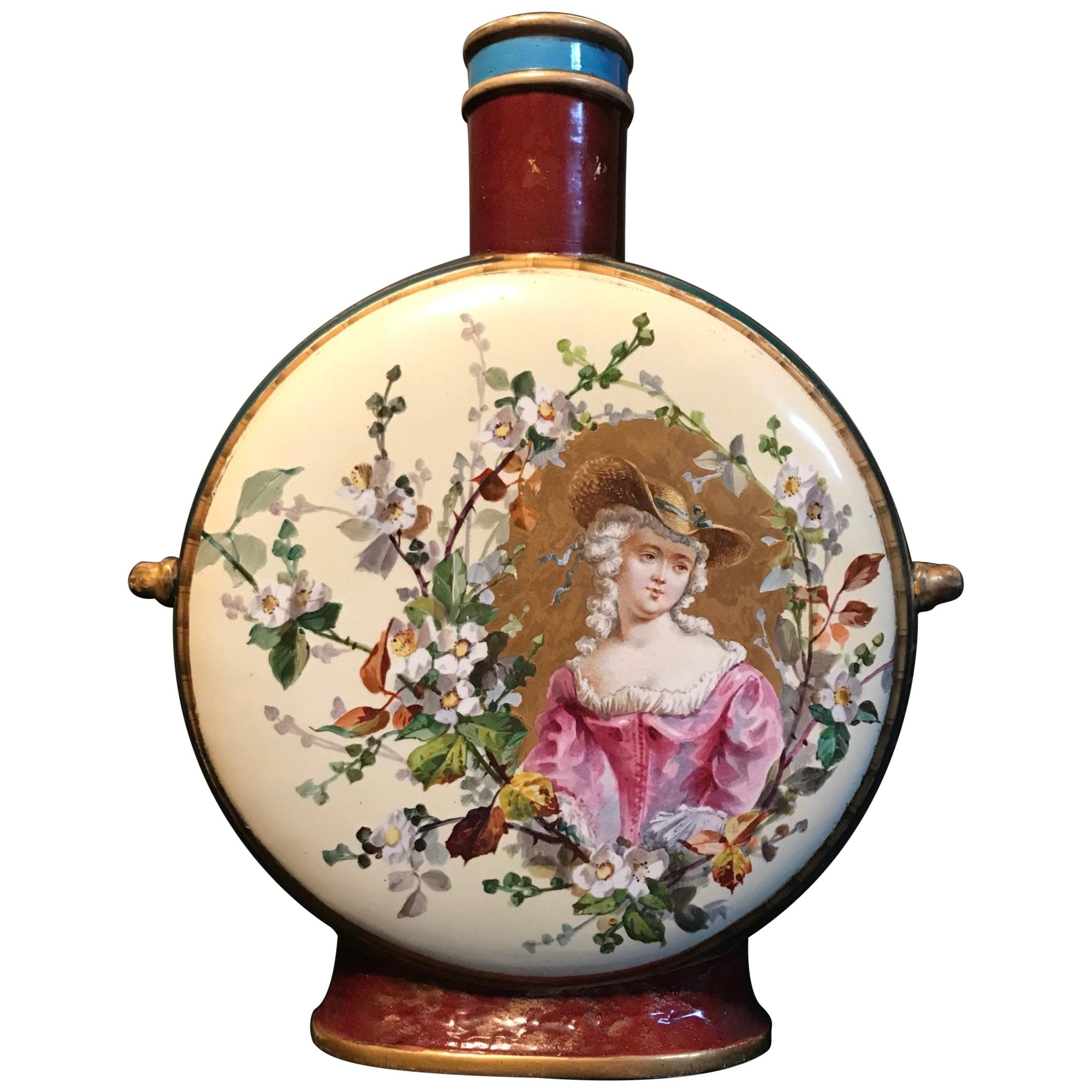 19th Century Royal Vienna Belle Époque Porcelain Moon Flask