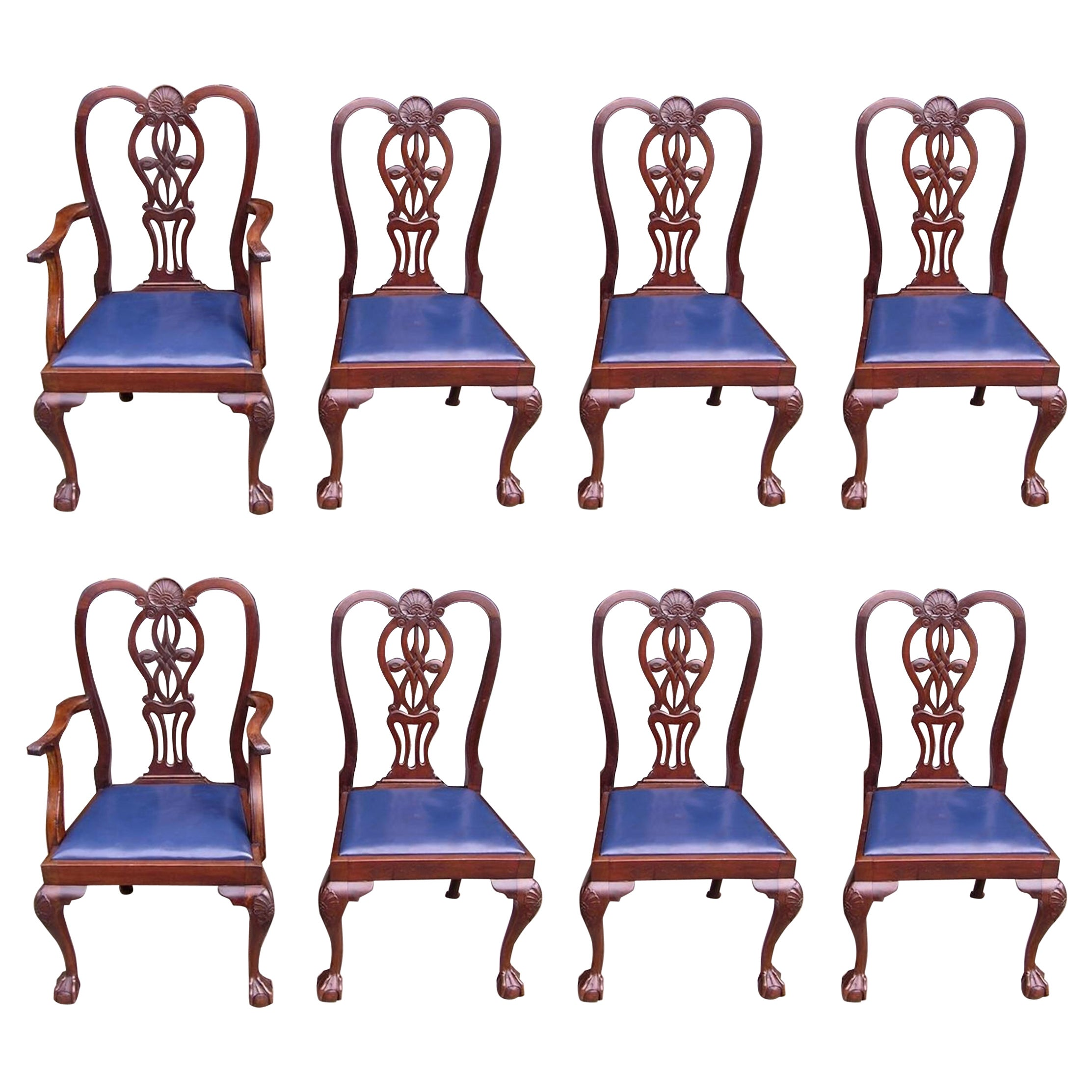 Set of Eight English Mahogany Dining Room Chairs with Leather Seats, Circa 1850