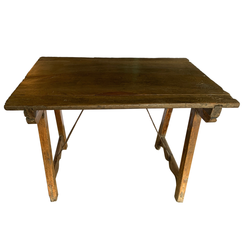 18th Century Spanish Walnut Table With Iron Stretcher