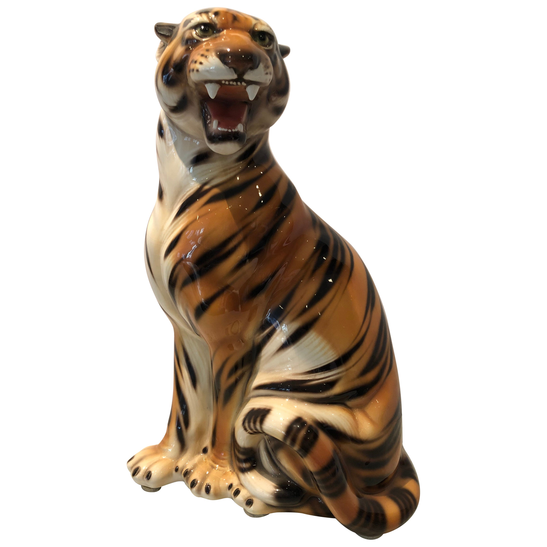 Very Large Dramatic Ceramic Tiger Statue