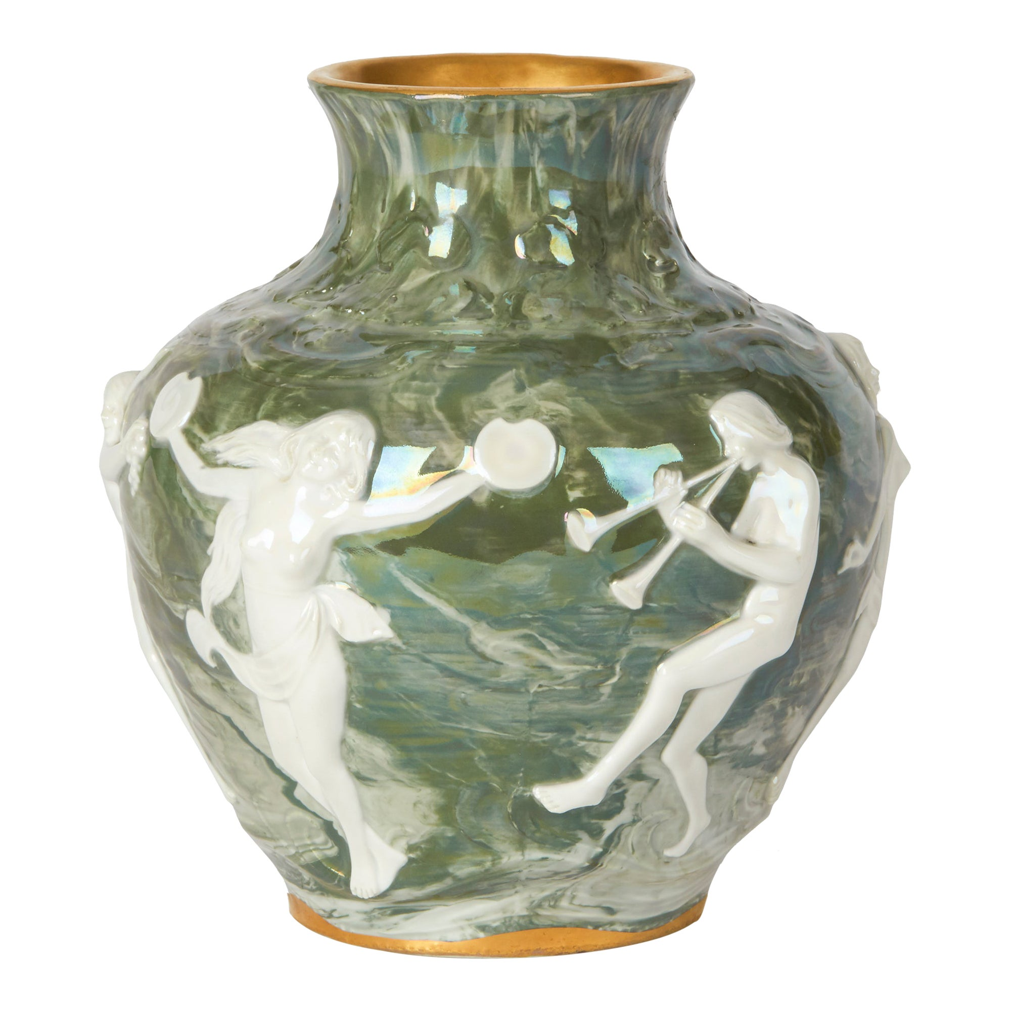 Adolph Oppel Kronach Art Nouveau Pottery Vase with Maidens, circa 1900