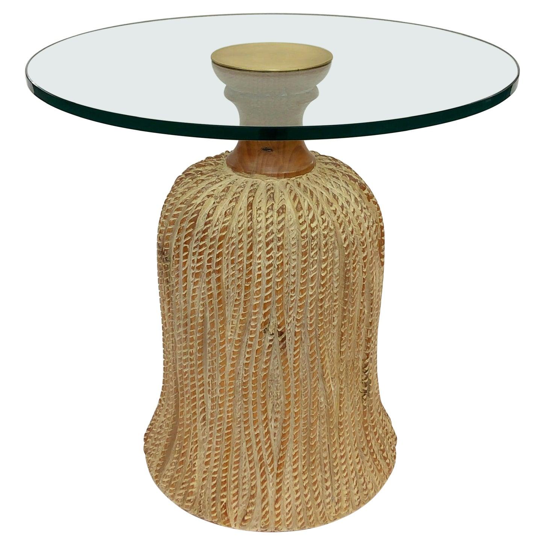 Spanish Wood Tassel and Glass Side Table by Sarreid Ltd.