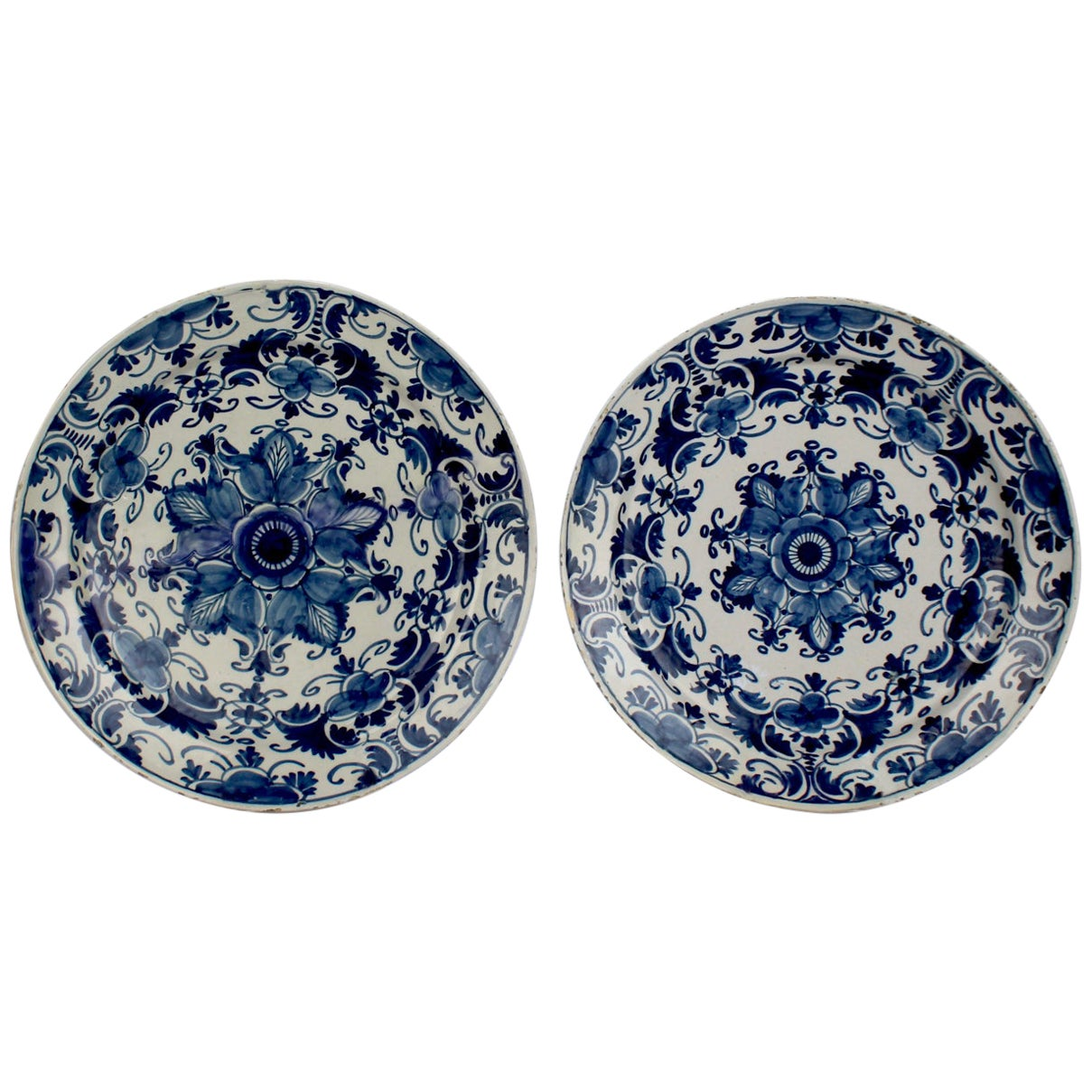 Pair of Large Matched 18th Century Blue and White Delft Chargers or Wall Plates