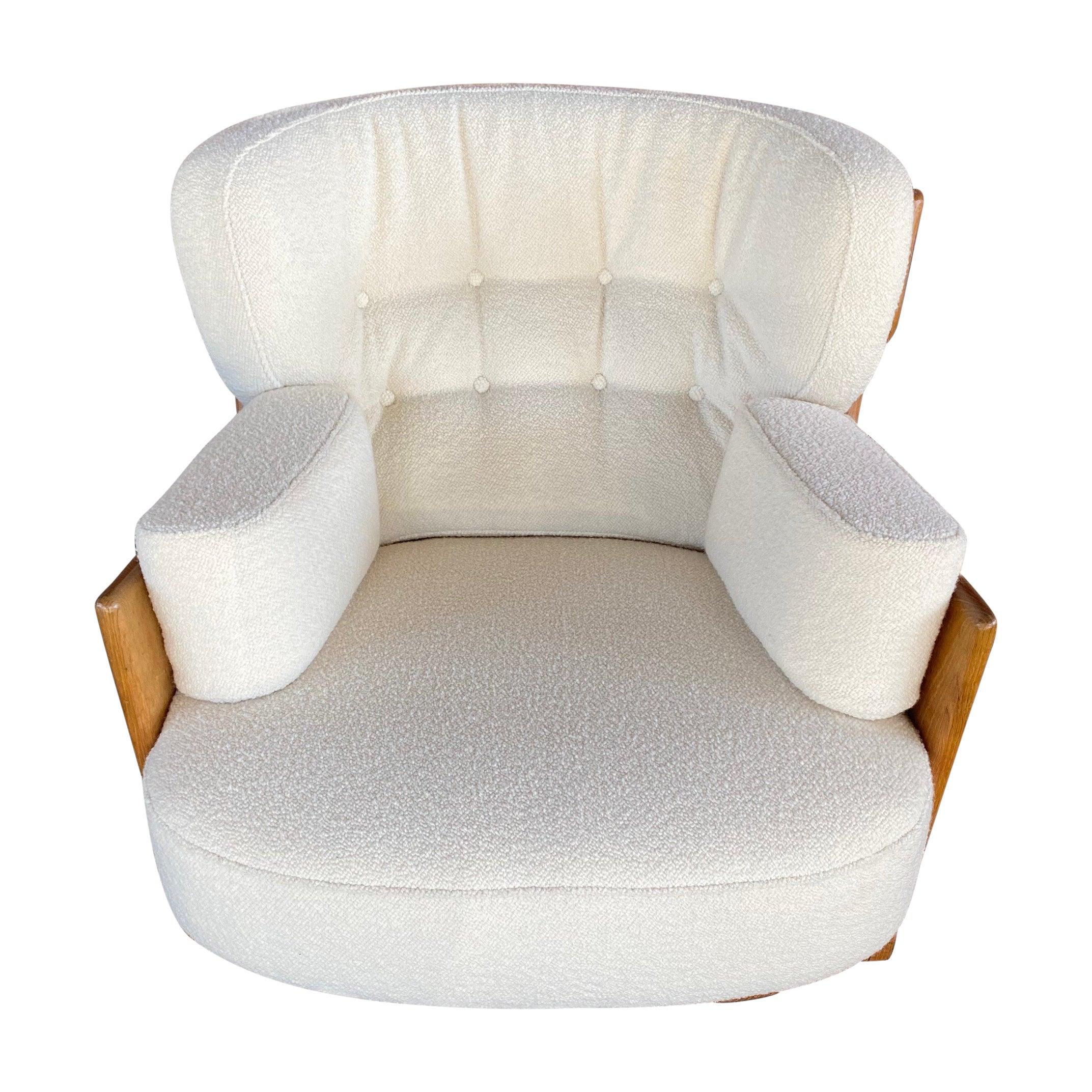 Guillerme & Chambron, Votre Maison, Denis Lounge Chair, Fabric and Oak, 1960s