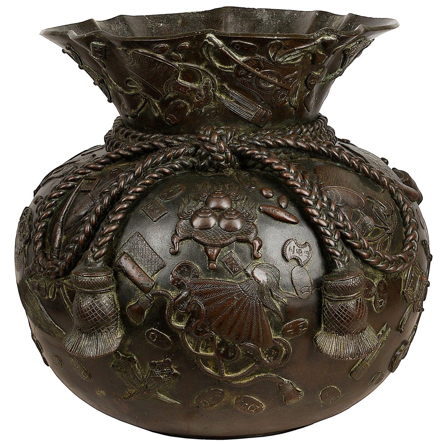 Large Japanese Bronze Vase Jardinière, Meiji Period