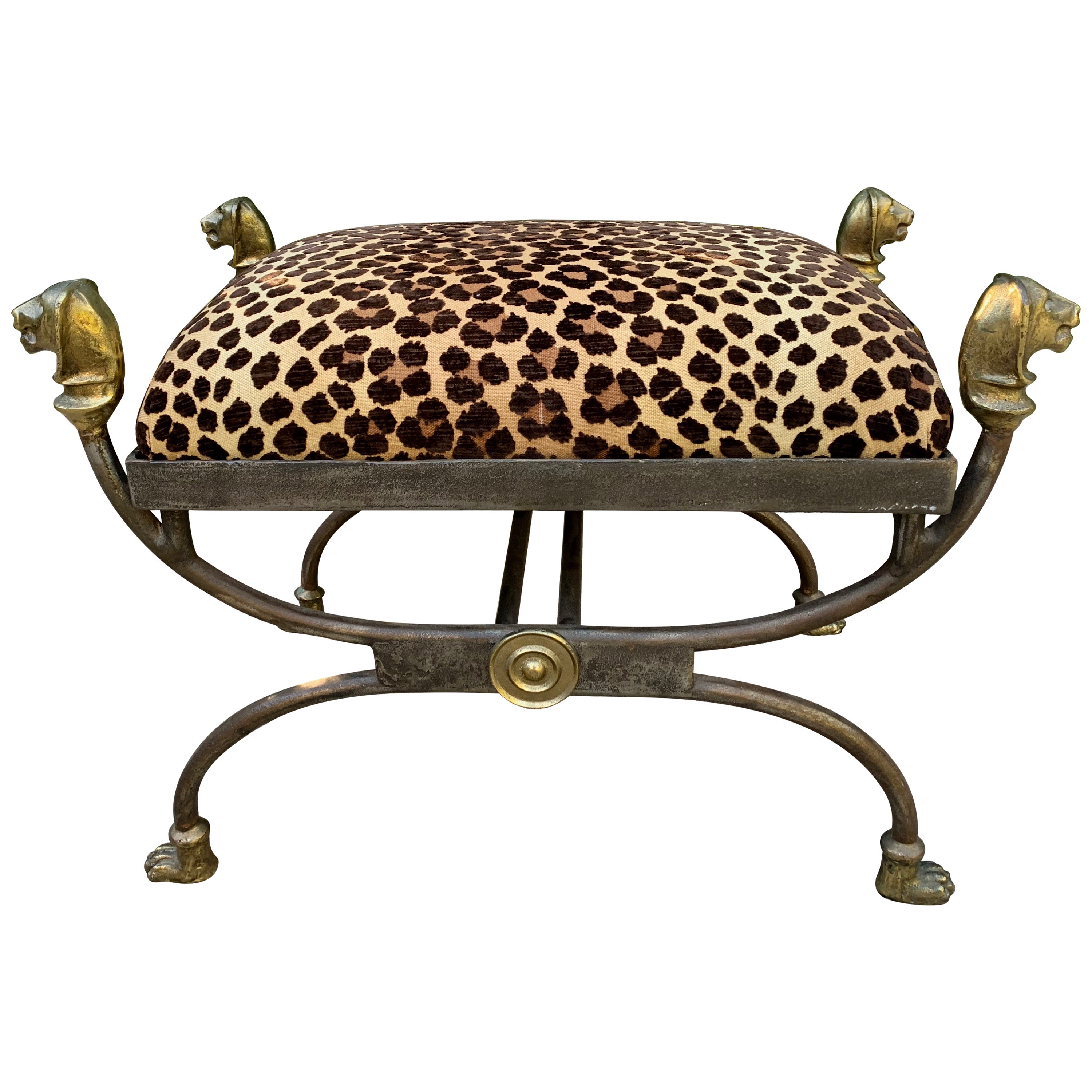 Wrought Iron Stool with Bronze Finials