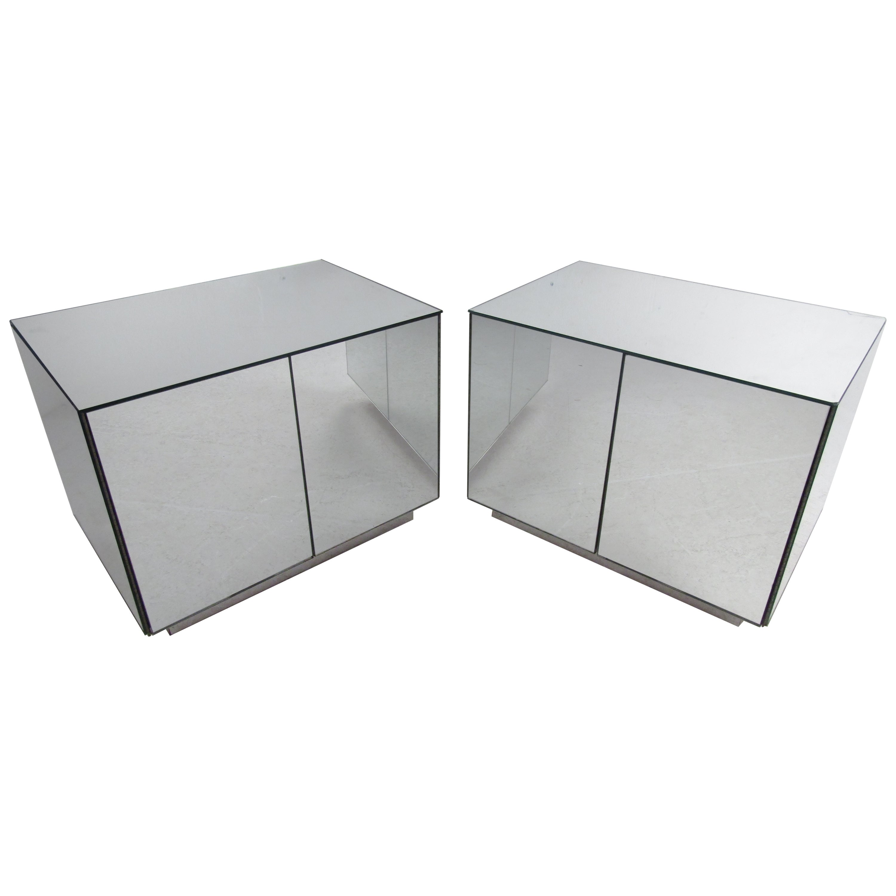 Pair of Vintage Modern Mirrored Cabinets