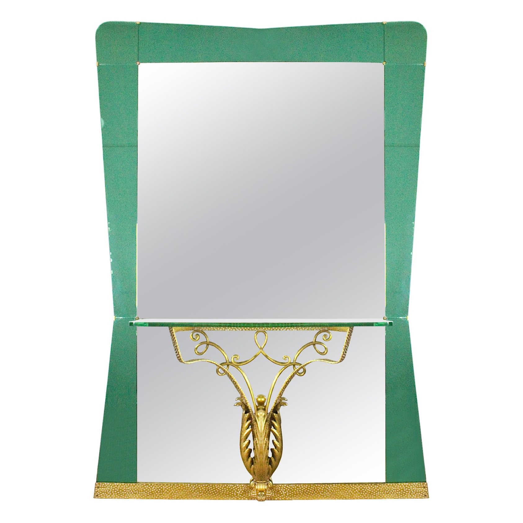 1940s Large Mirror-Console, Green Mirror and Metal by Pier Luigi Colli, Italy
