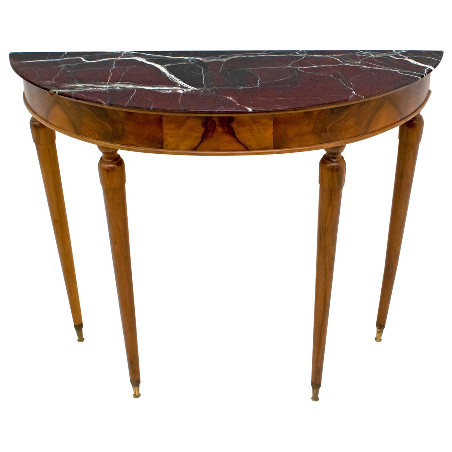 Mid-Century Modern Italian Walnut and Marble-Top Console, 1950s