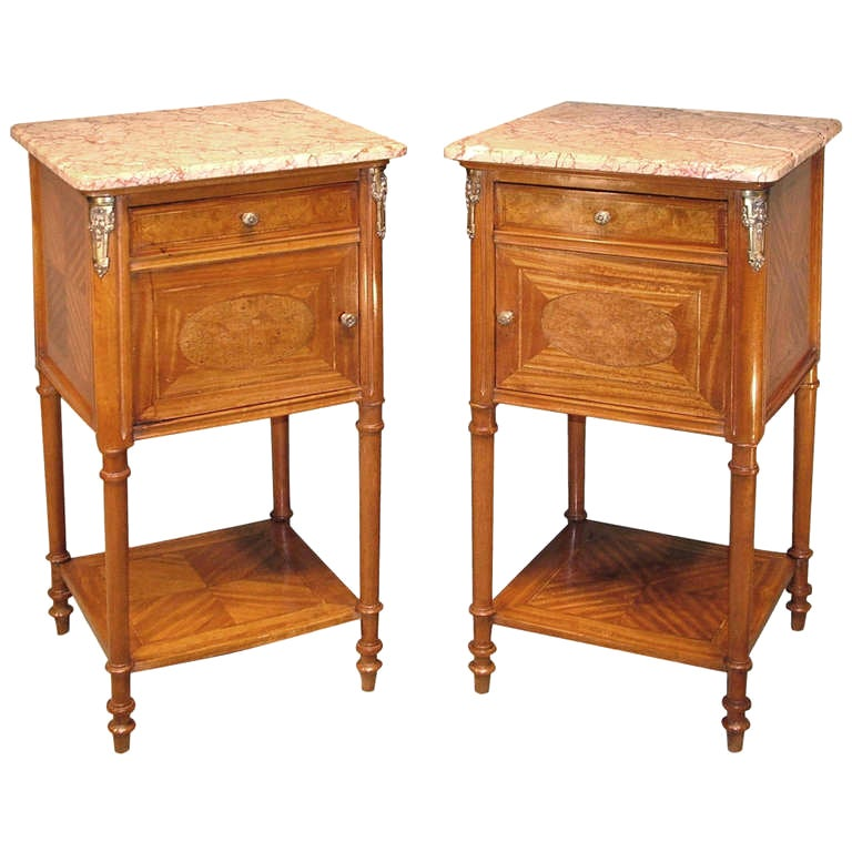 Pair of 19th Century French Satinwood Bedside Cabinets