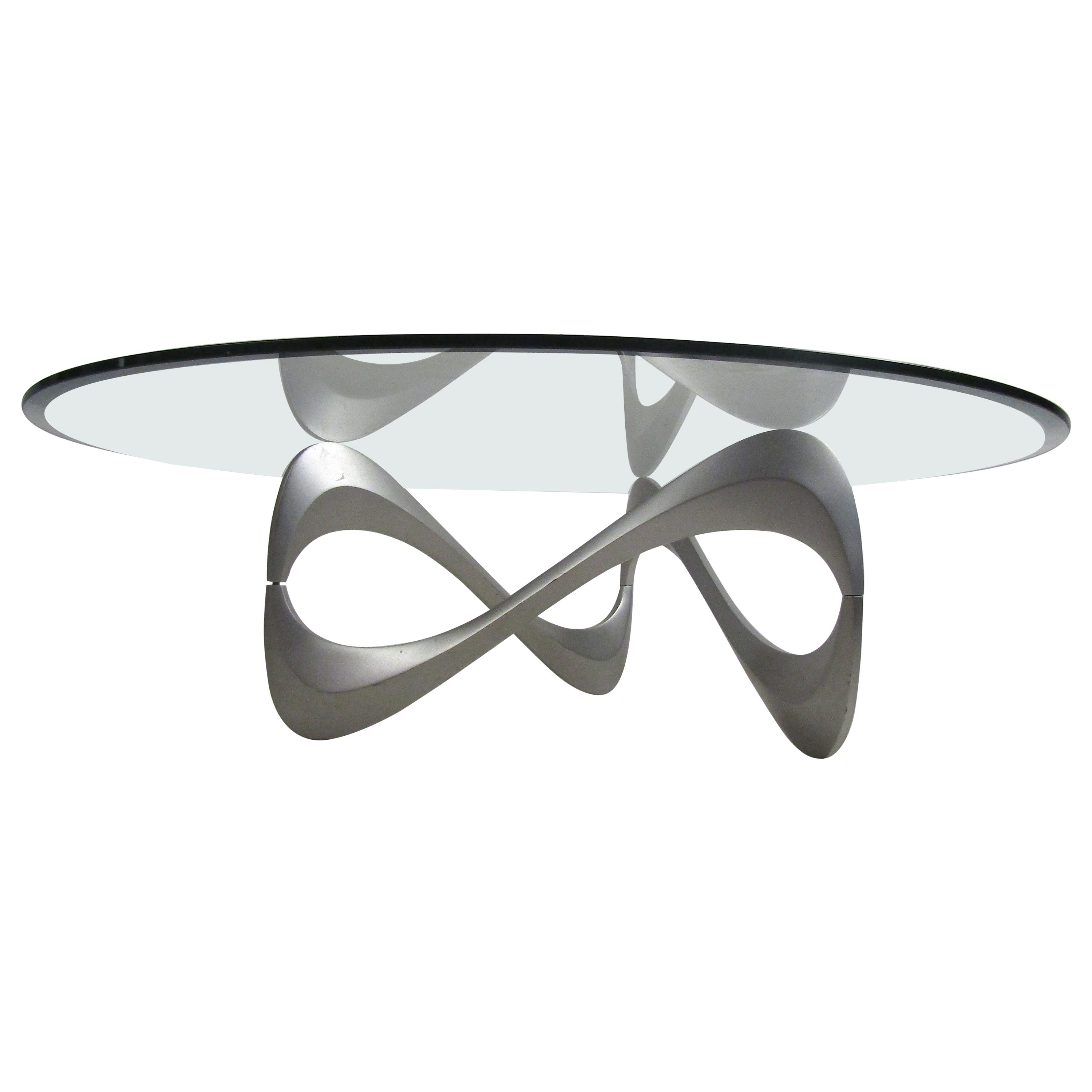 Wild Mid-Century Modern Sculpted Metal Base Coffee Table